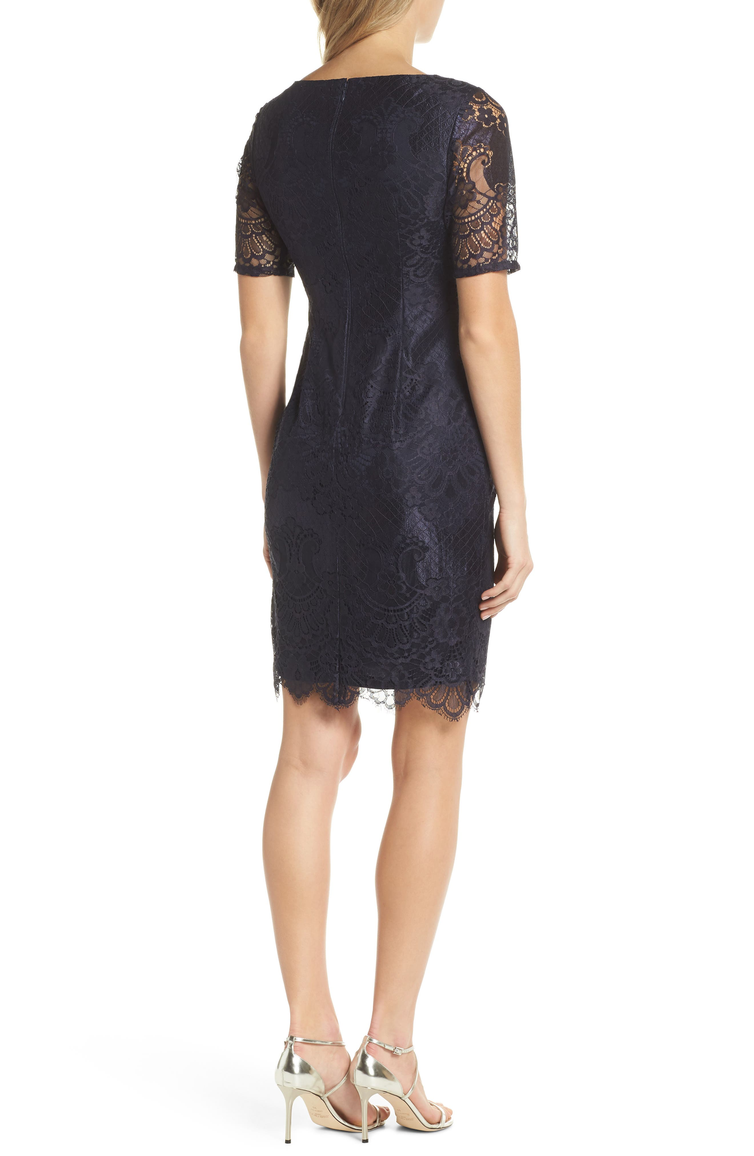 Lace Sheath Dress,                             Alternate thumbnail 2, color,                             410