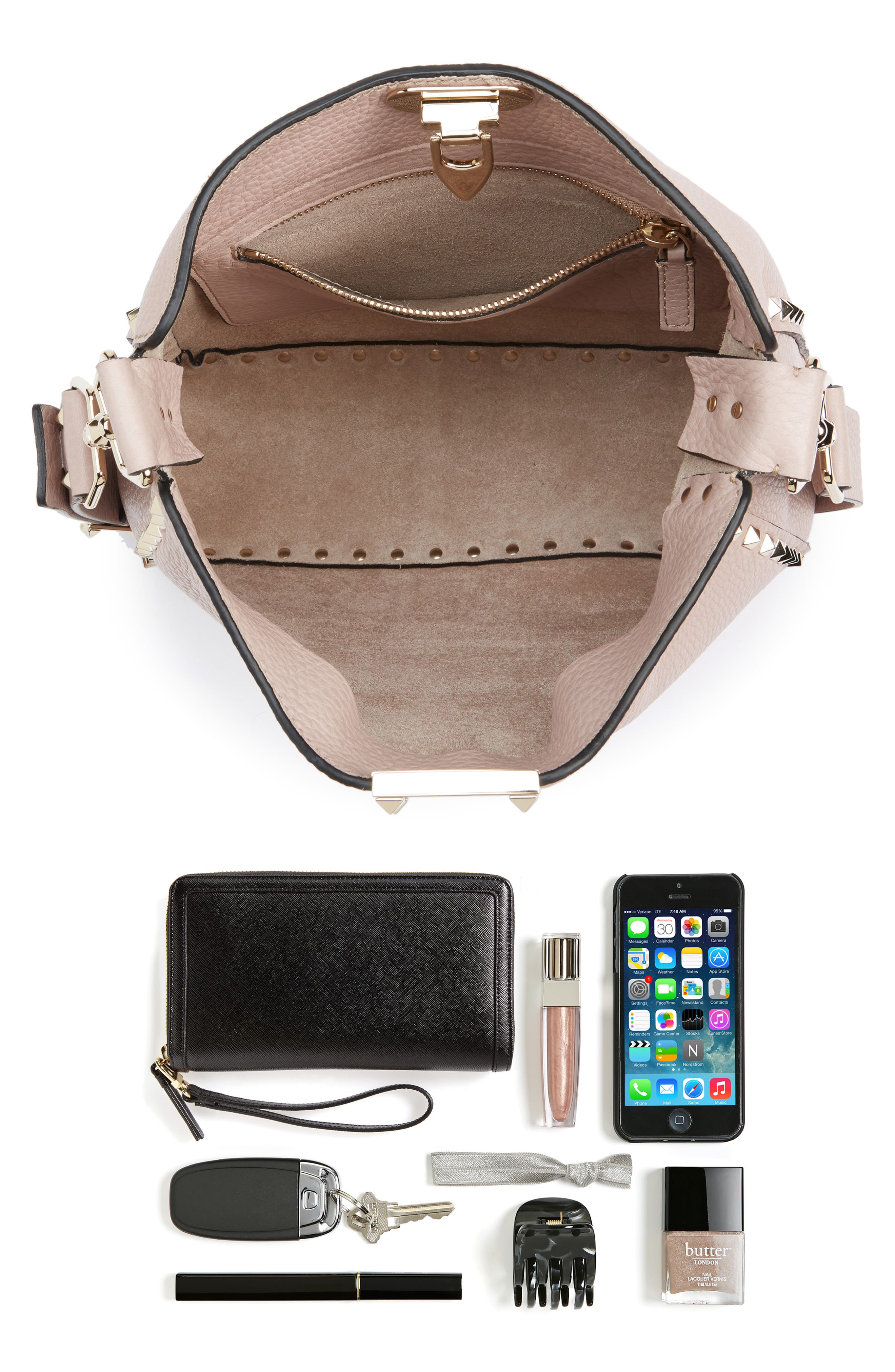 Vitello Rockstud Leather Hobo,                             Alternate thumbnail 7, color,                             950