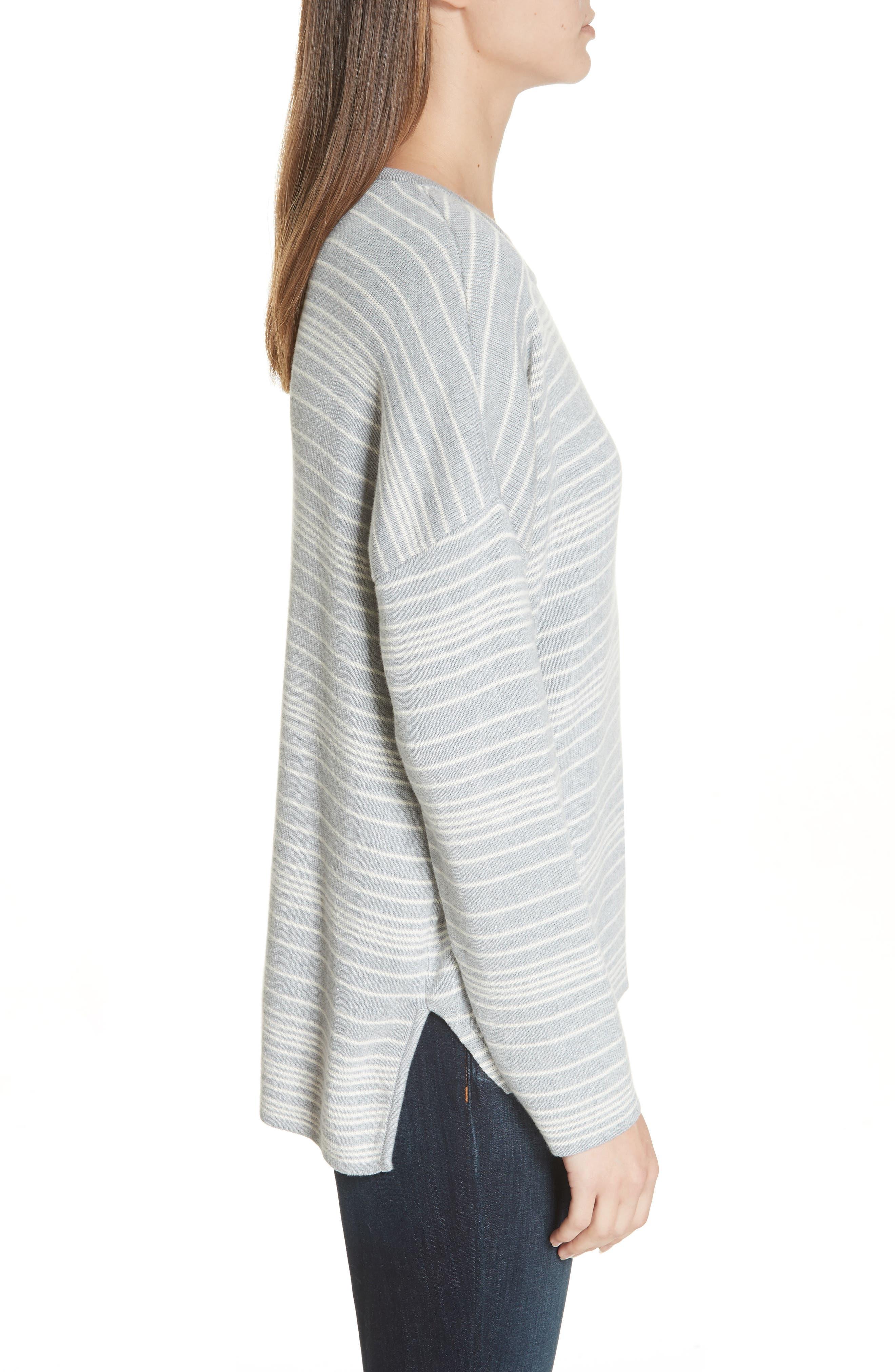 Stripe Organic Cotton Sweater,                             Alternate thumbnail 3, color,                             038