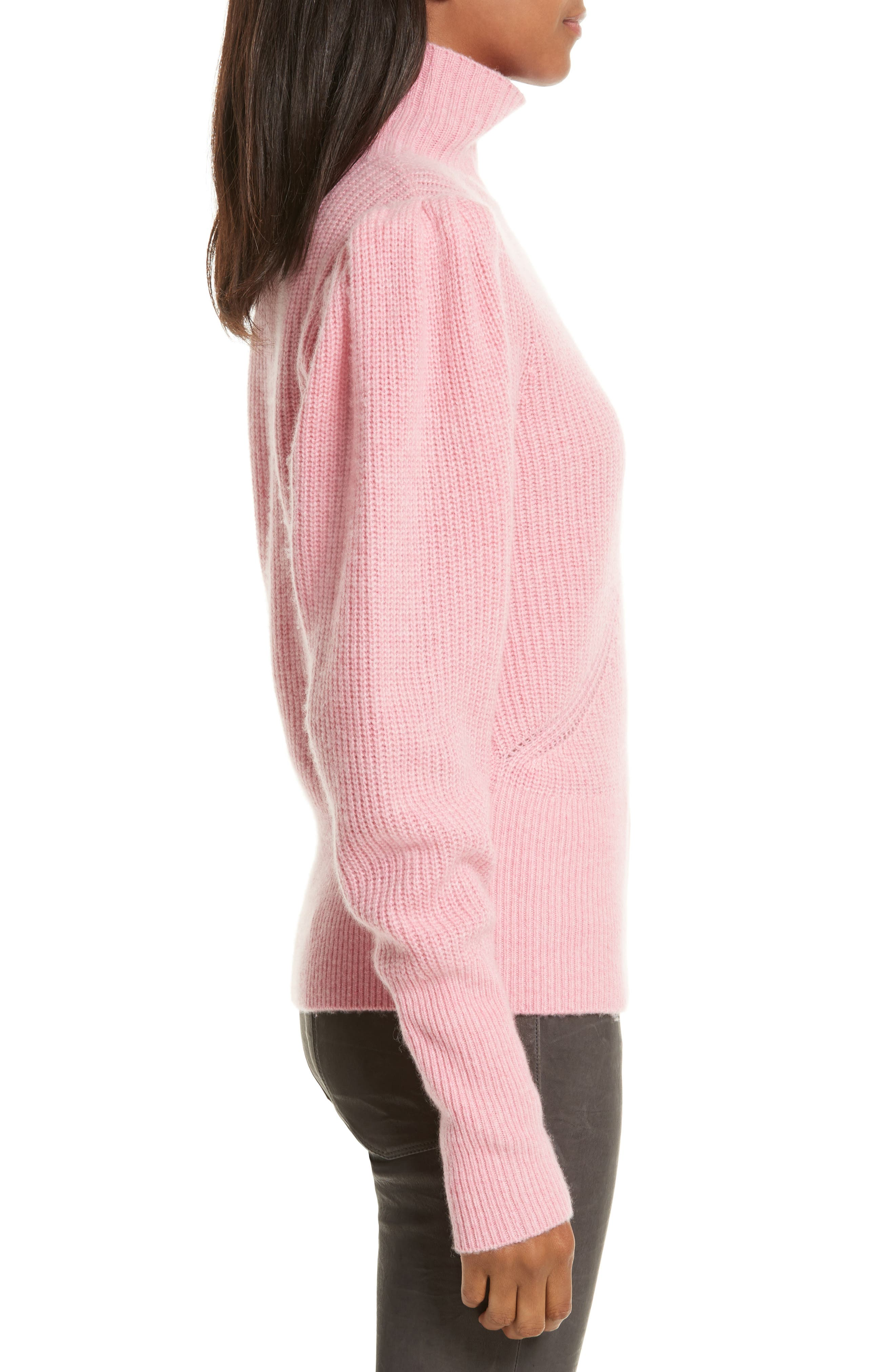 Wool & Cashmere Puff Sleeve Turtleneck Sweater,                             Alternate thumbnail 6, color,