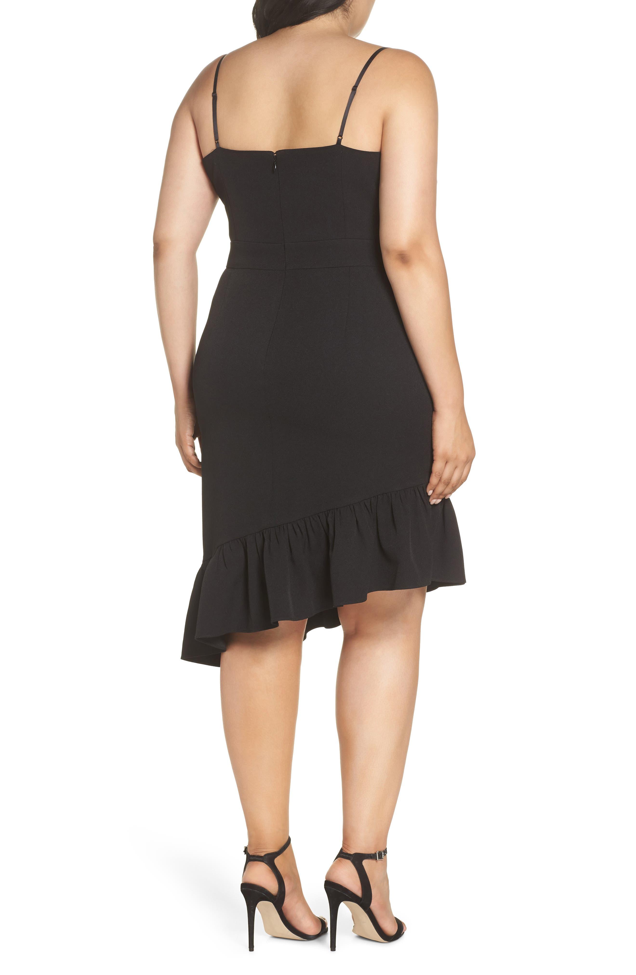Asymmetric Ruffle Hem Dress,                             Alternate thumbnail 9, color,                             001