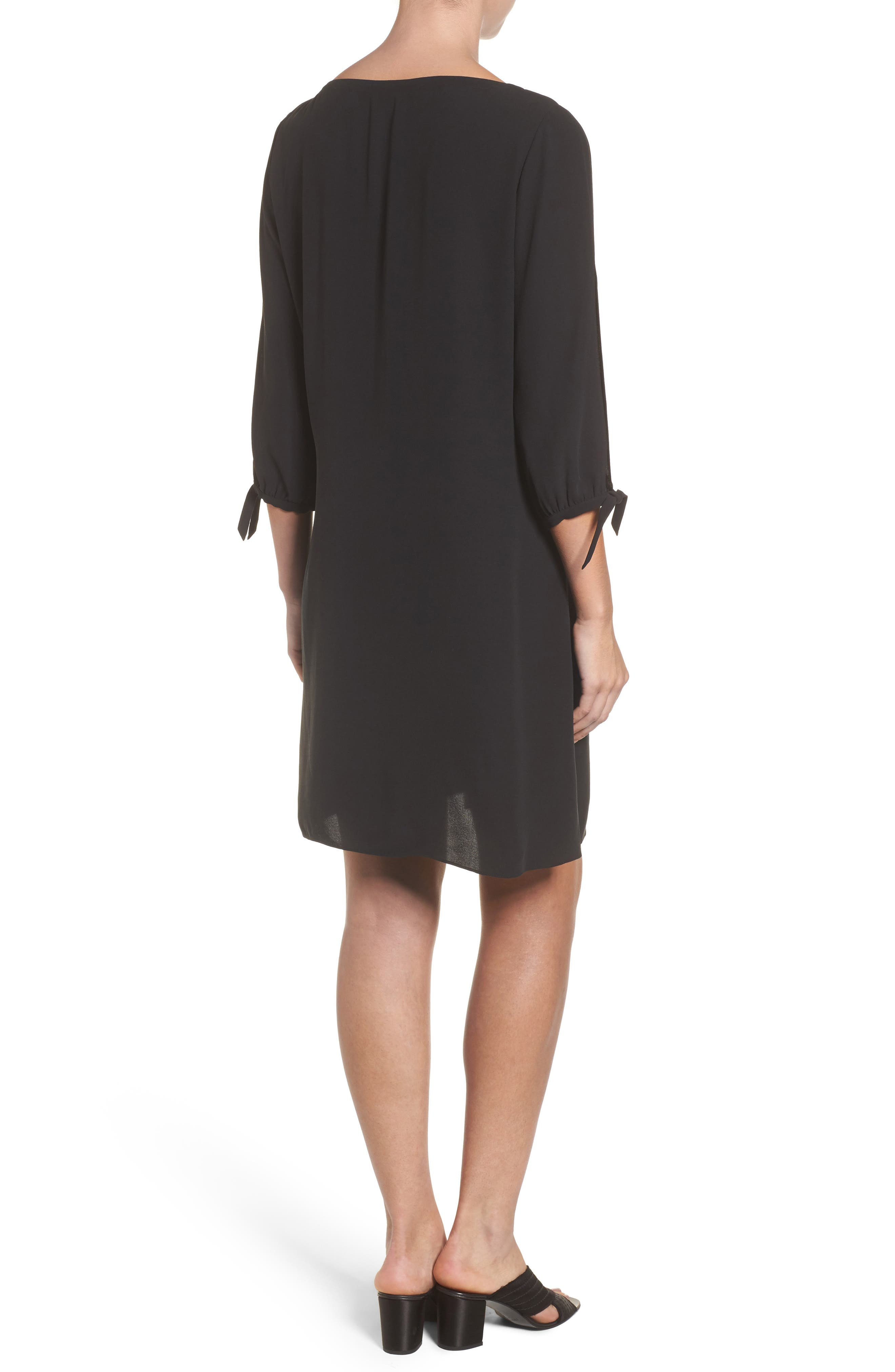 Silk Shift Dress,                             Alternate thumbnail 2, color,                             001