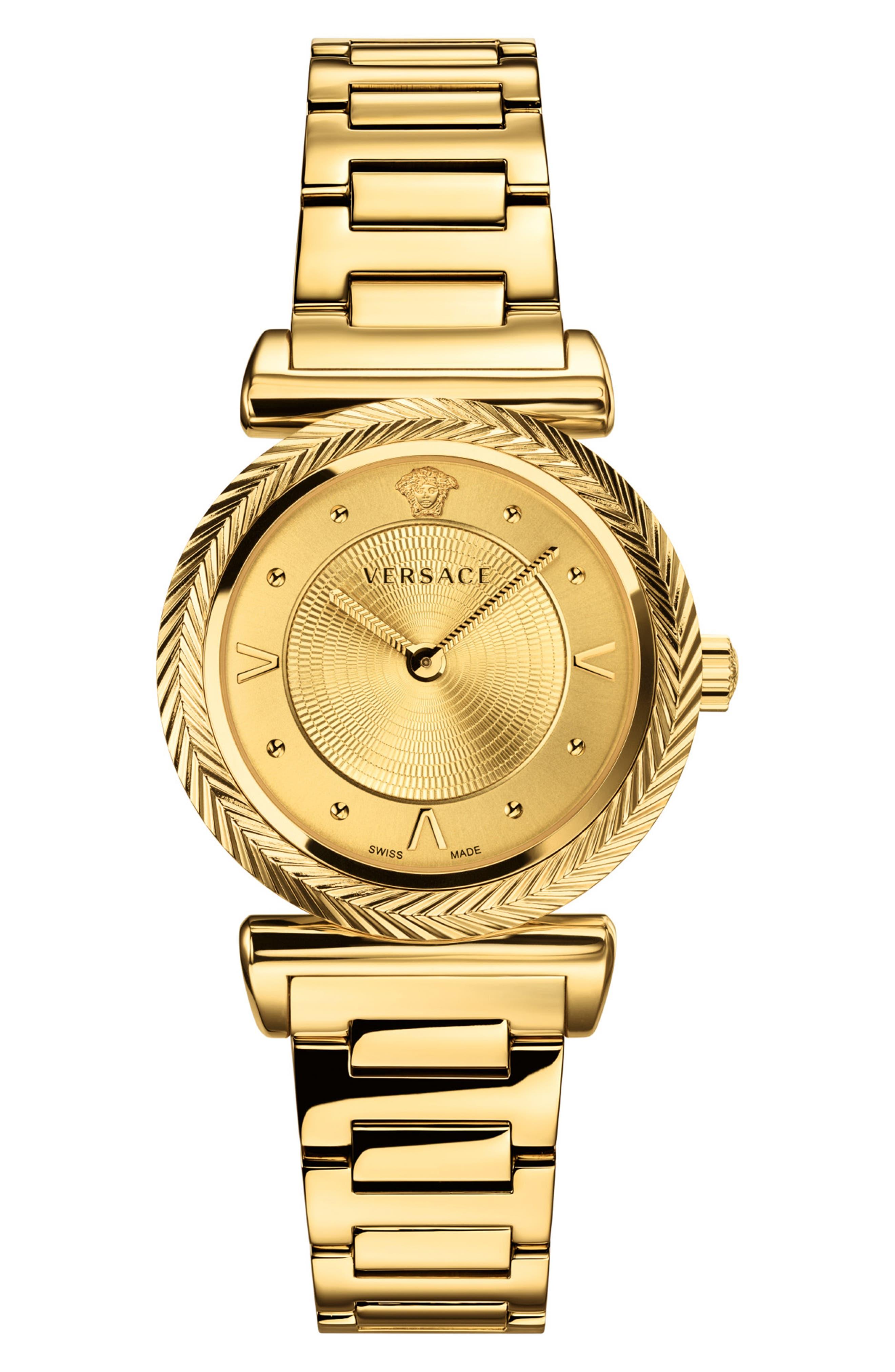 VERSACE V Motif Bracelet Watch, 35mm, Main, color, GOLD