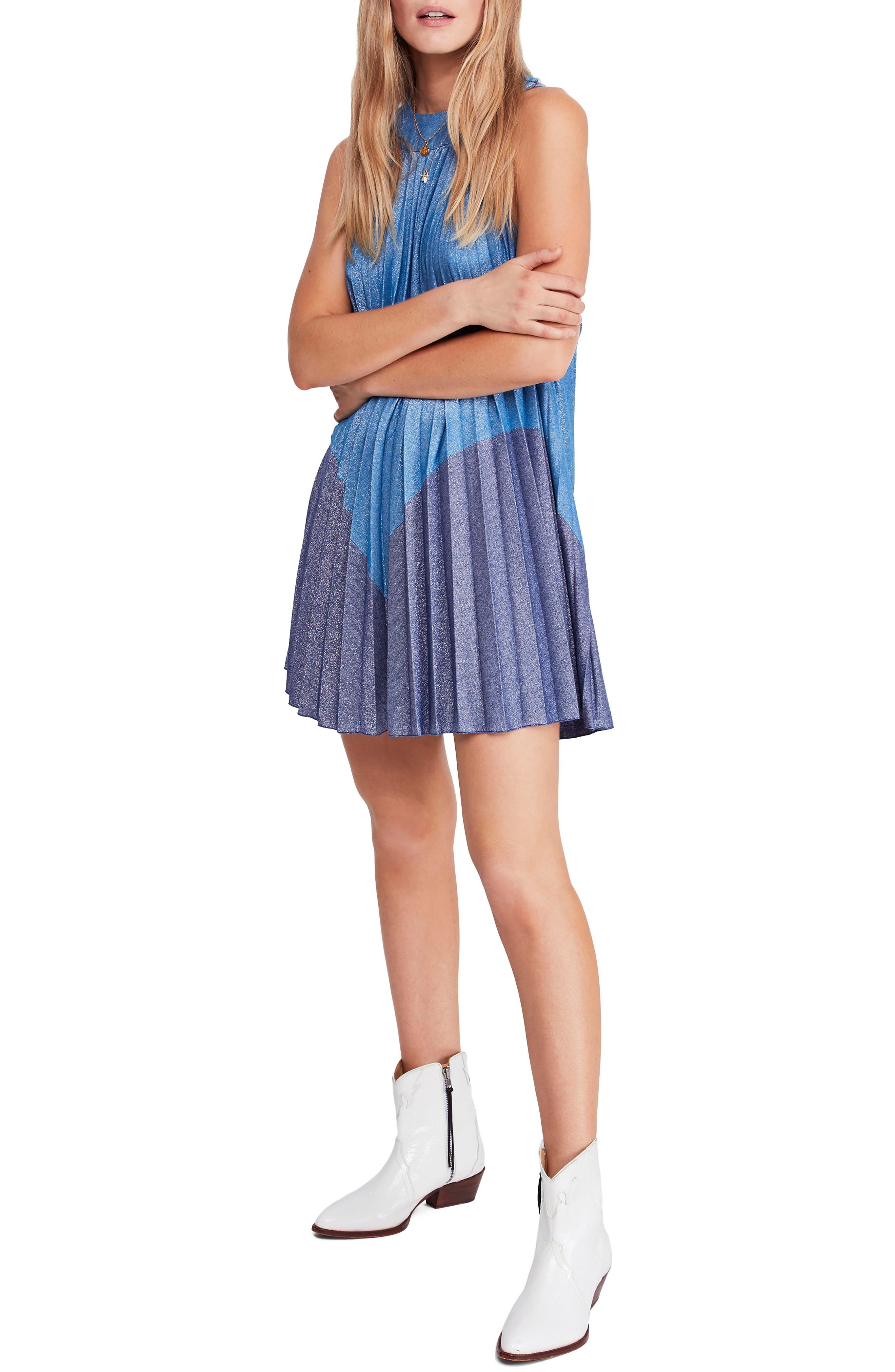 Pleated Love Minidress,                         Main,                         color, BLUE