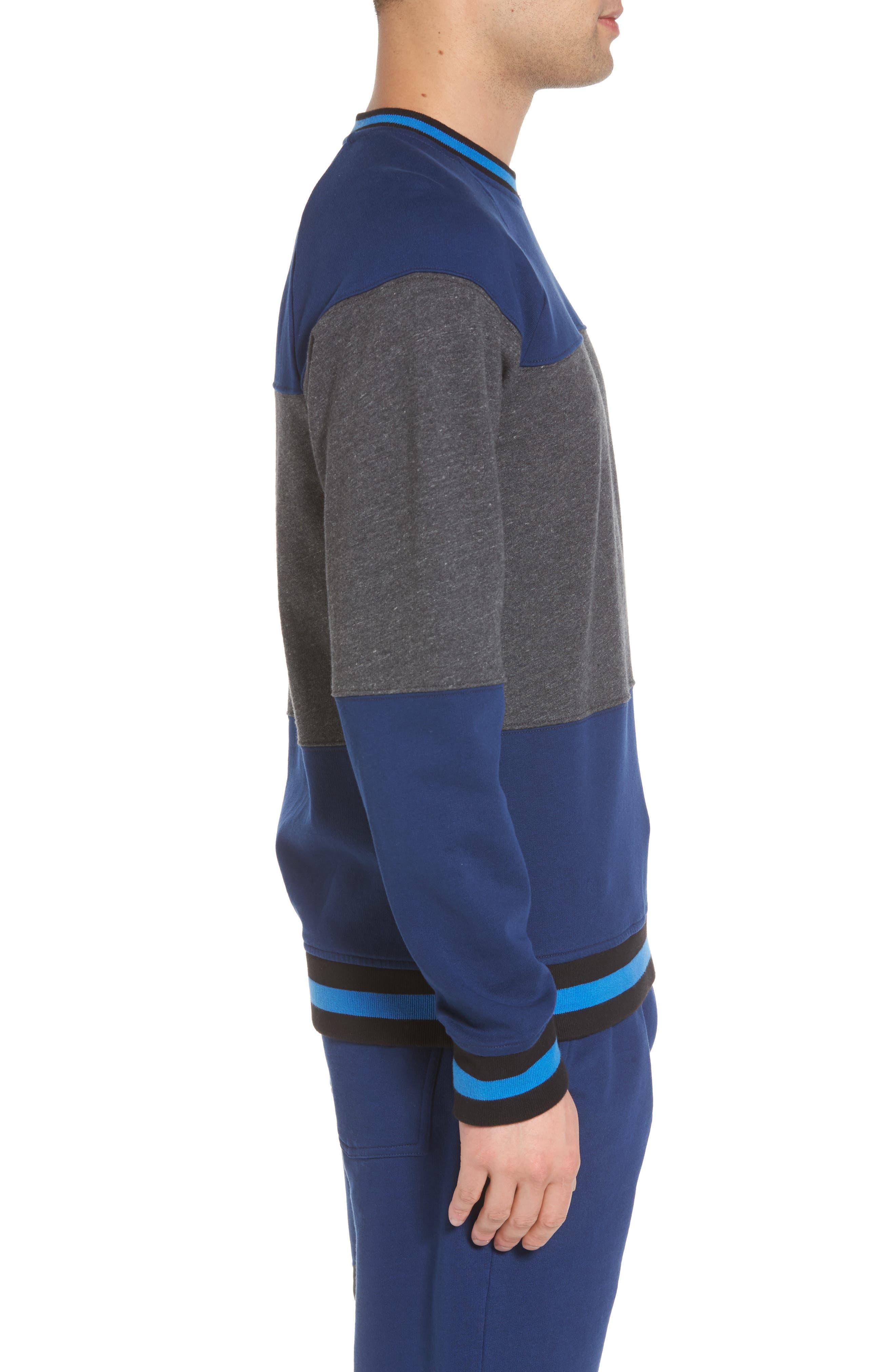 Tipped Colorblock Sweatshirt,                             Alternate thumbnail 3, color,                             401