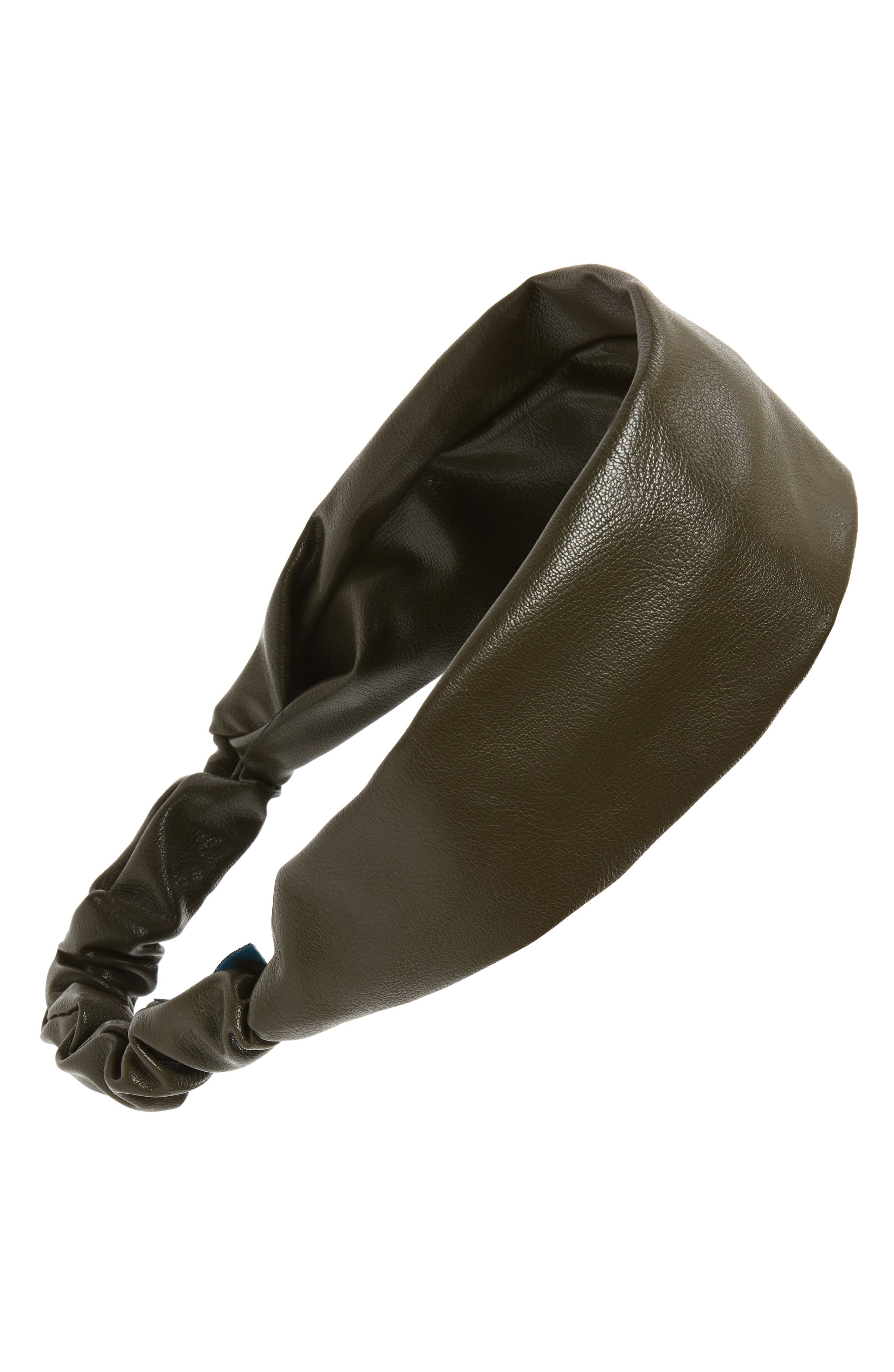 Faux Leather Head Wrap, Main, color, OLIVE