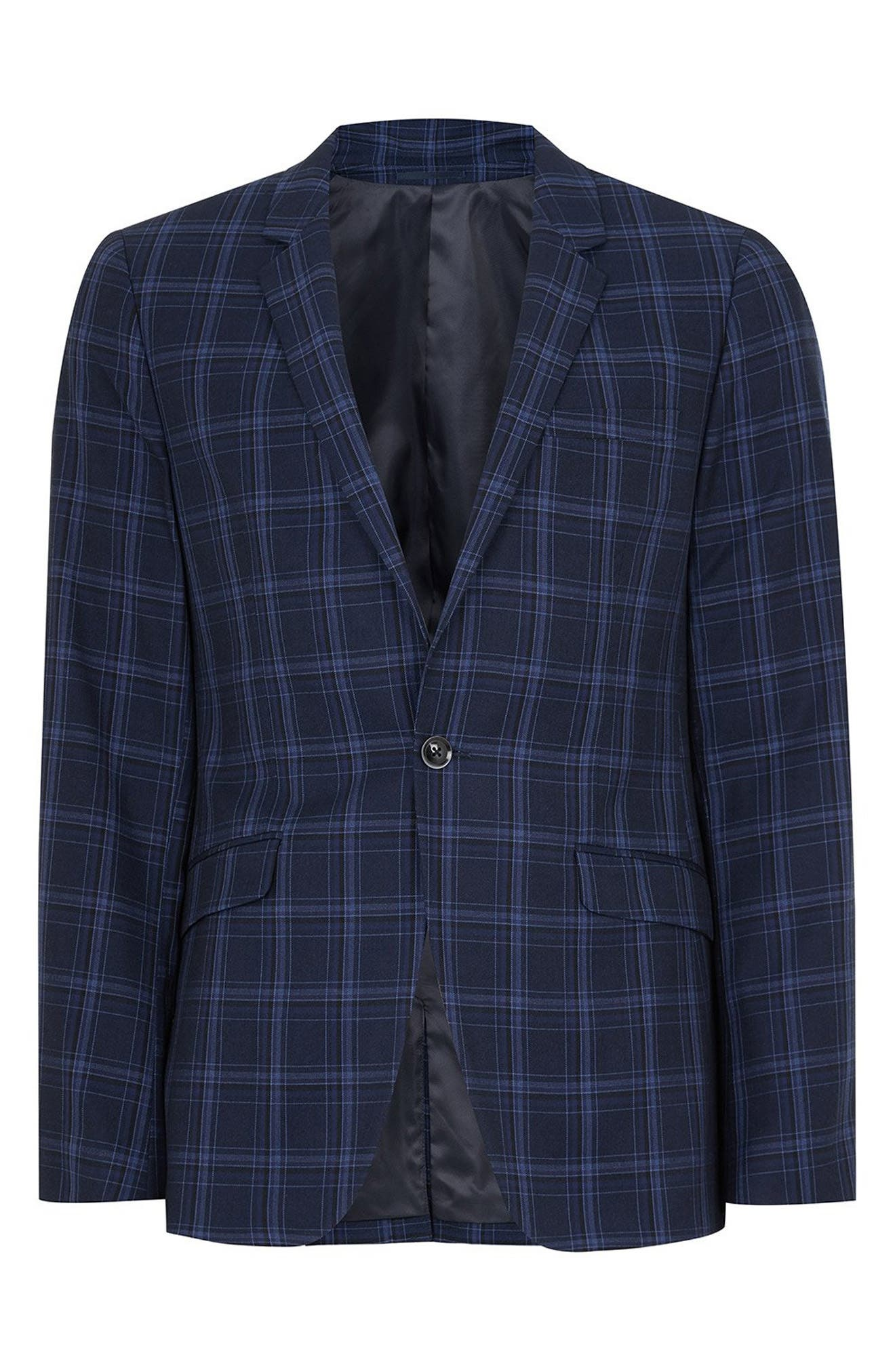 Skinny Fit Check Suit Jacket,                             Alternate thumbnail 4, color,                             BLUE