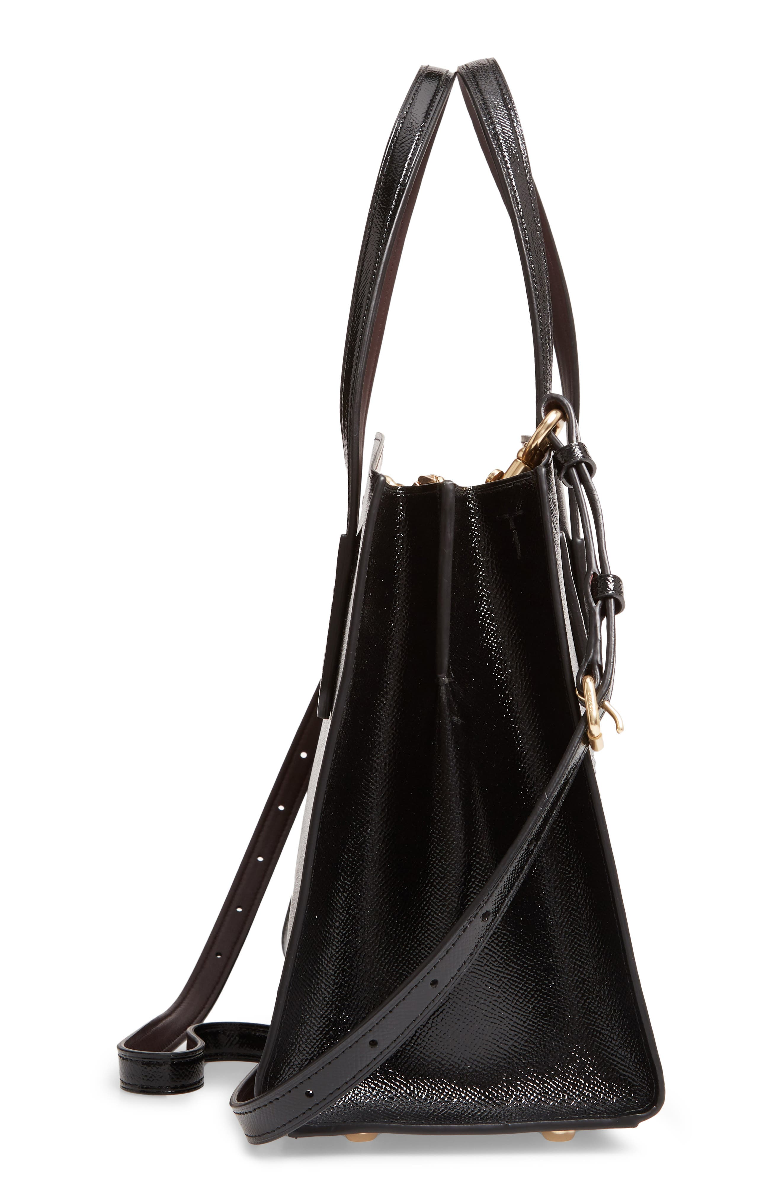 COACH,                             Charlie Patent Leather Tote,                             Alternate thumbnail 5, color,                             BLACK