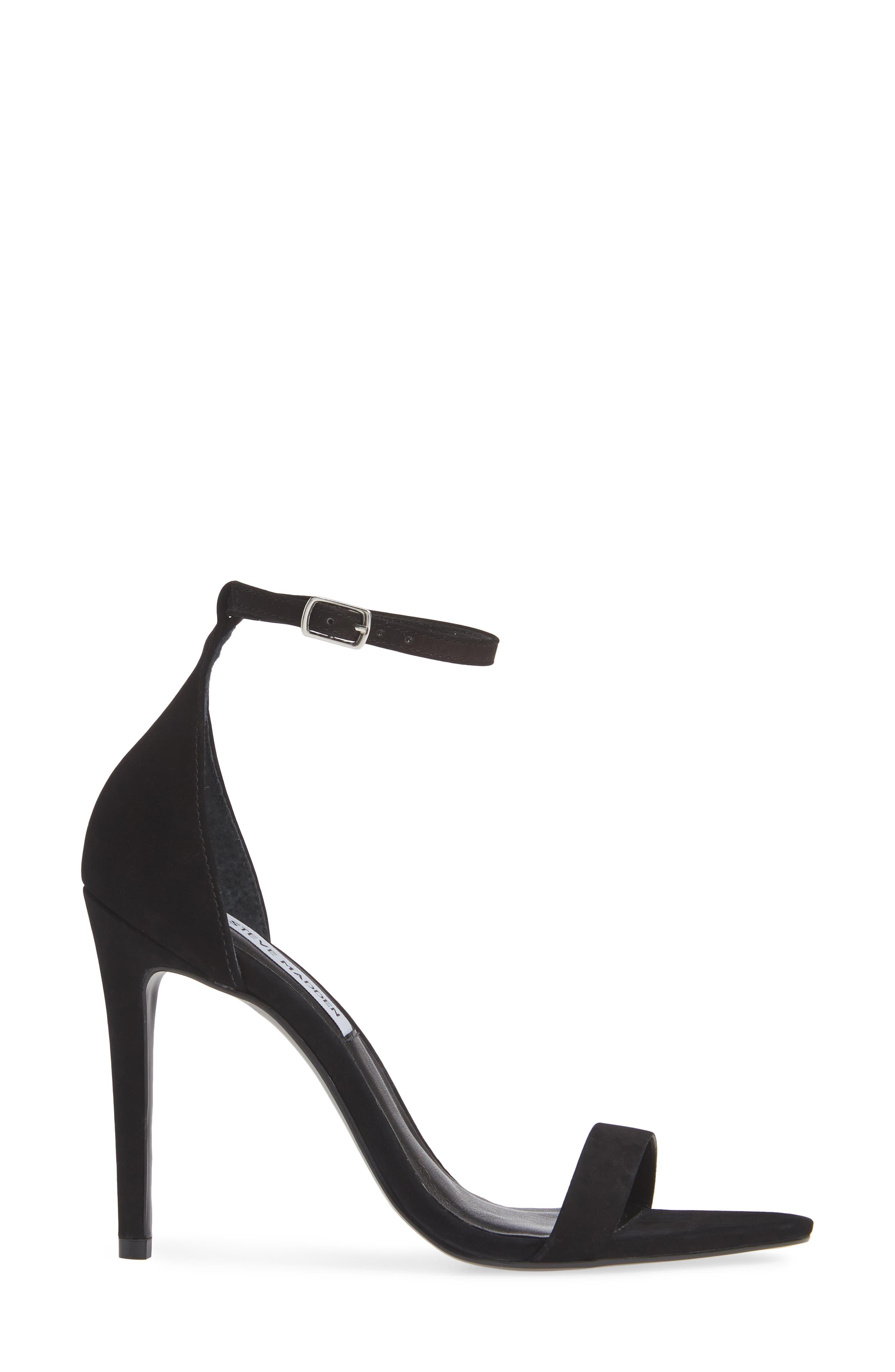 Ankle Strap Sandal,                             Alternate thumbnail 3, color,                             BLACK NUBUCK
