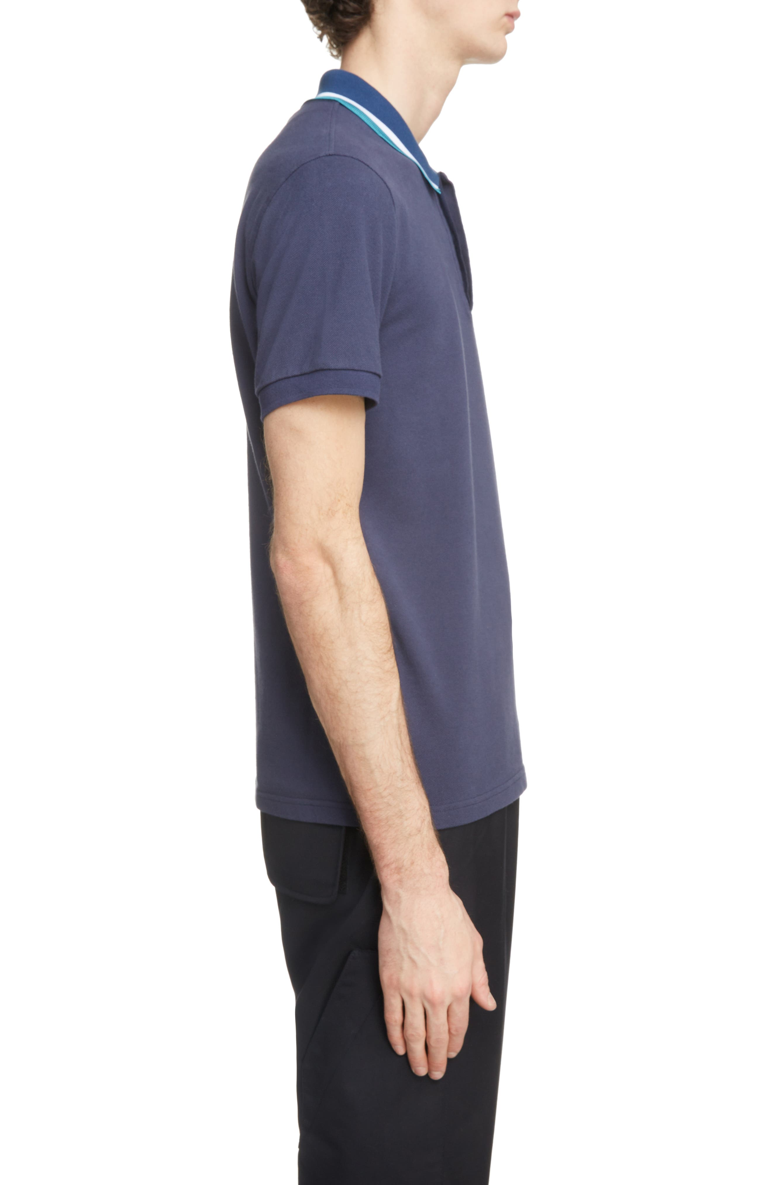 Placket Embroidered Tipped Piqué Polo,                             Alternate thumbnail 3, color,                             INK