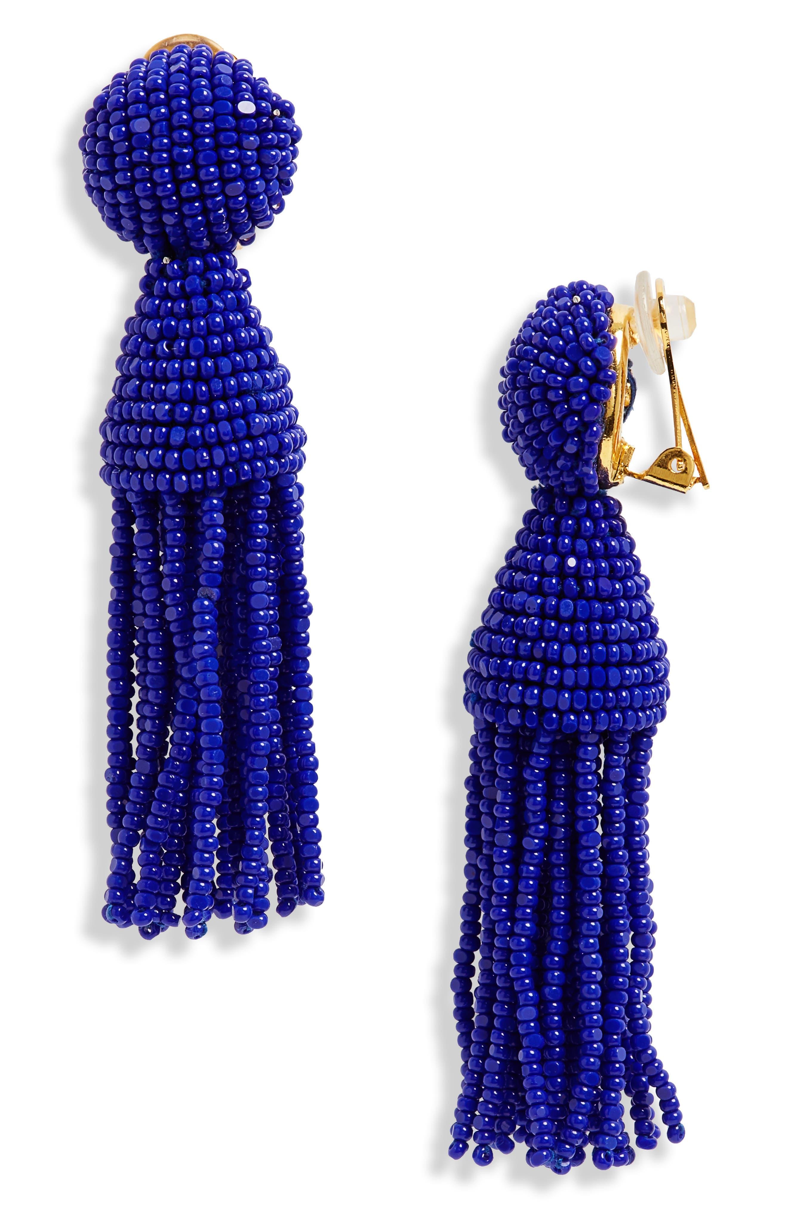 'Classic Short' Tassel Drop Clip Earrings,                             Main thumbnail 4, color,