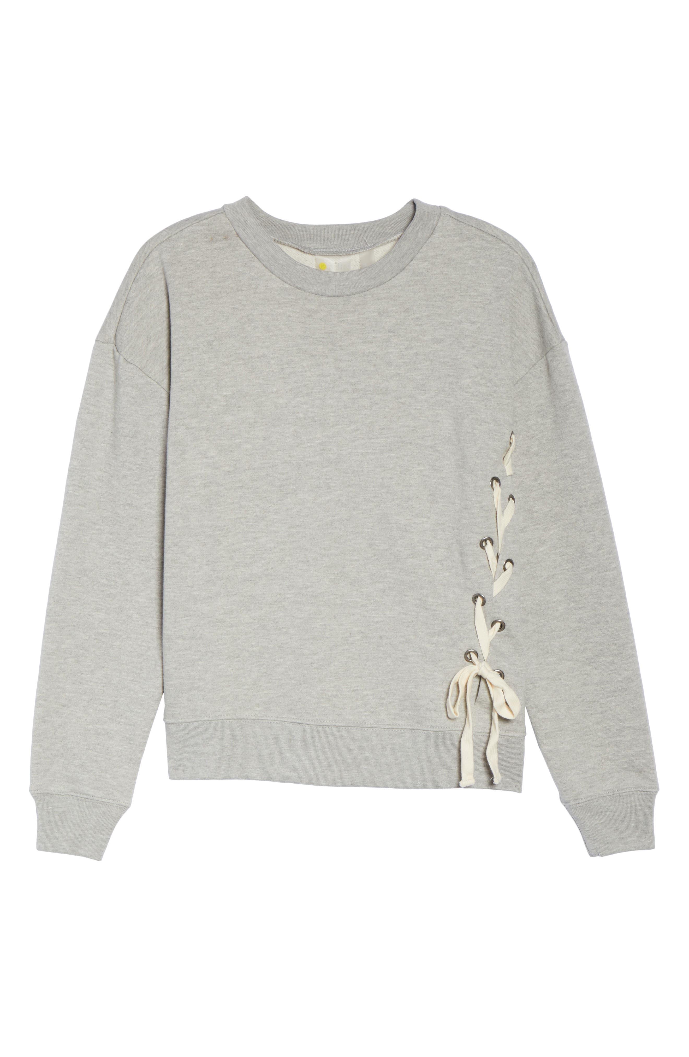Lace-Up Crewneck Sweatshirt,                             Alternate thumbnail 7, color,                             030