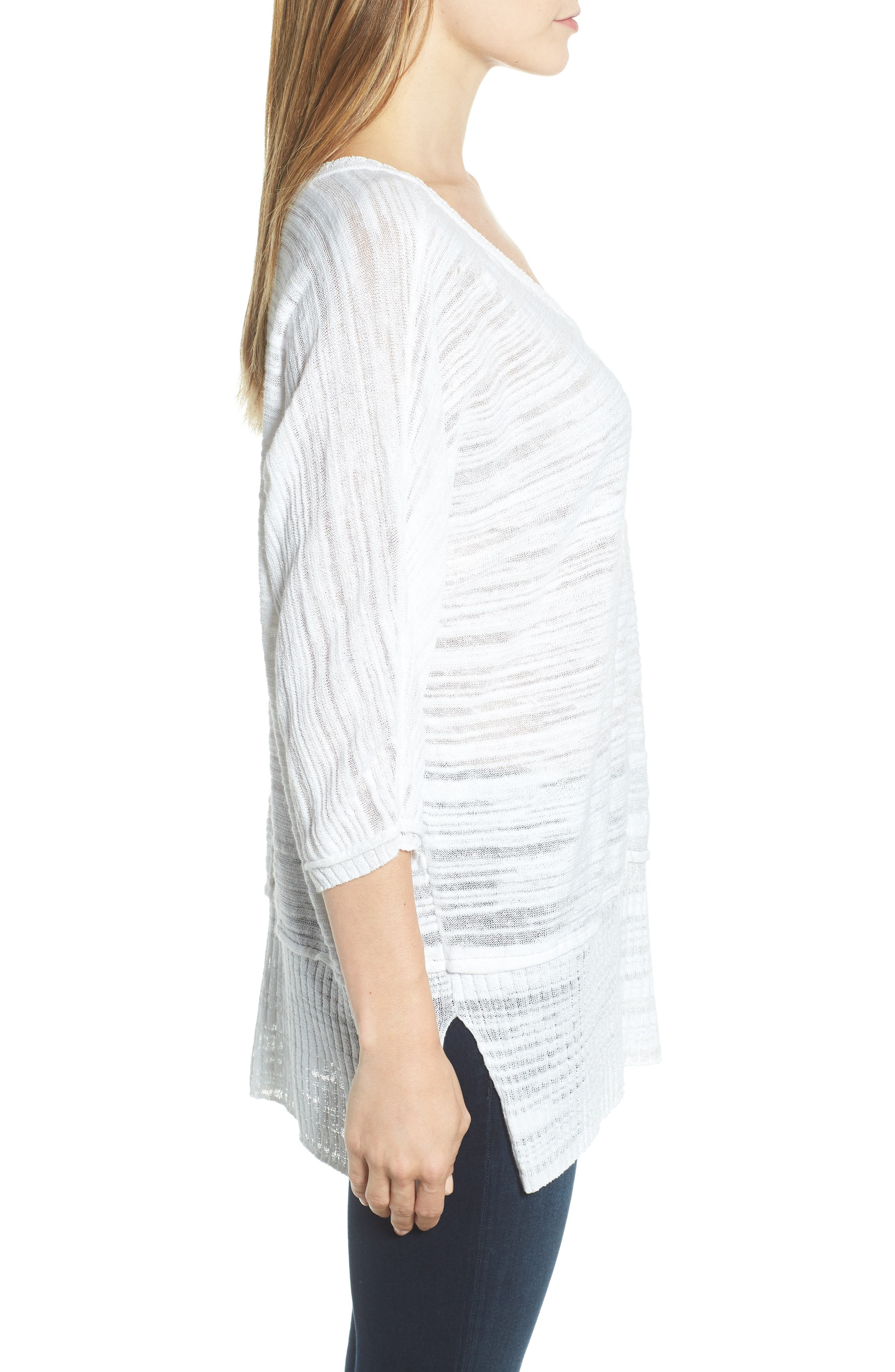 NIC+ZOE,                             Open Breeze Linen Cotton Blend Sweater,                             Alternate thumbnail 3, color,                             123