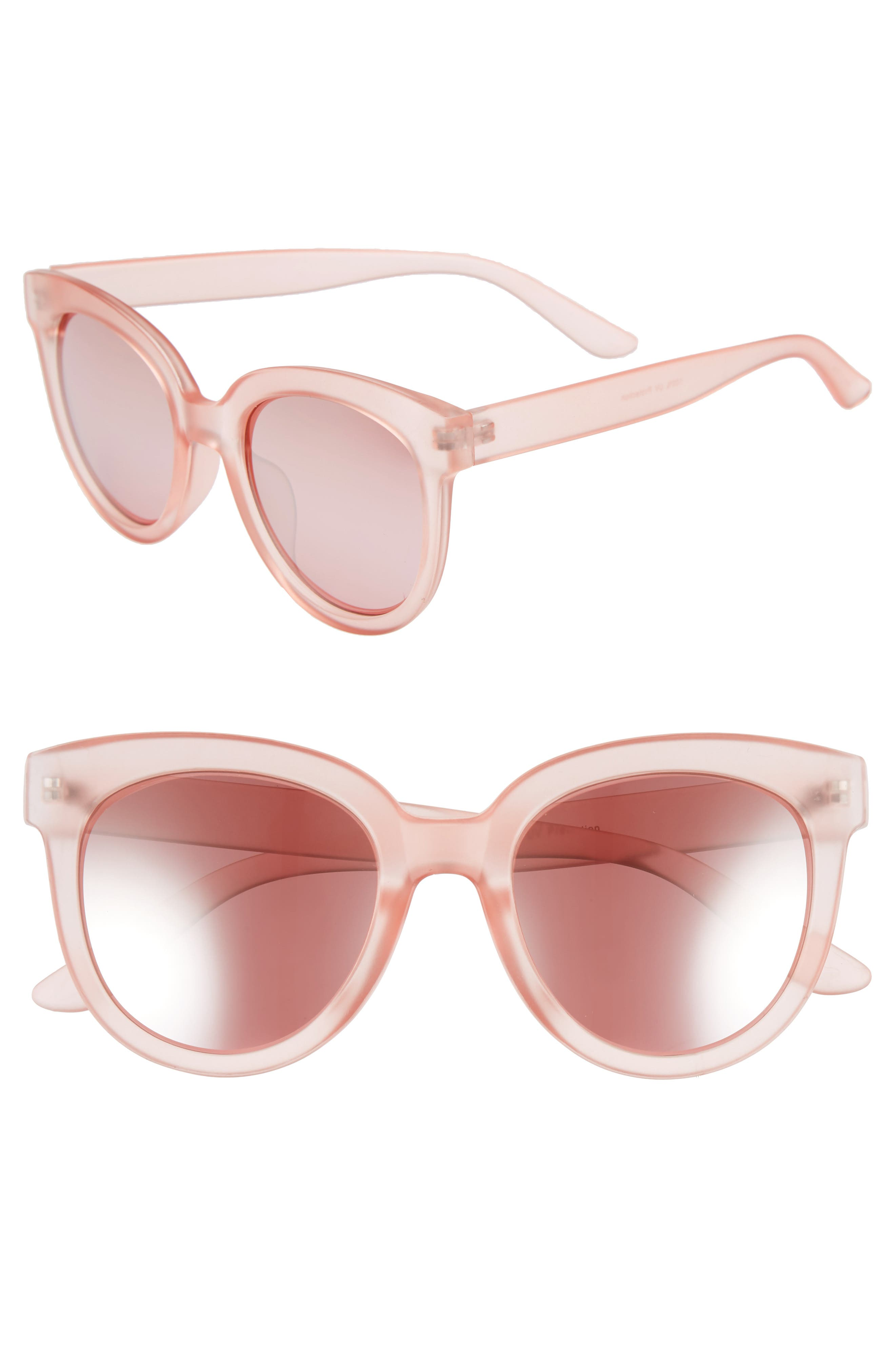 53mm Frosted Cat Eye Sunglasses,                             Main thumbnail 1, color,                             MILKY PINK/ ROSE GOLD