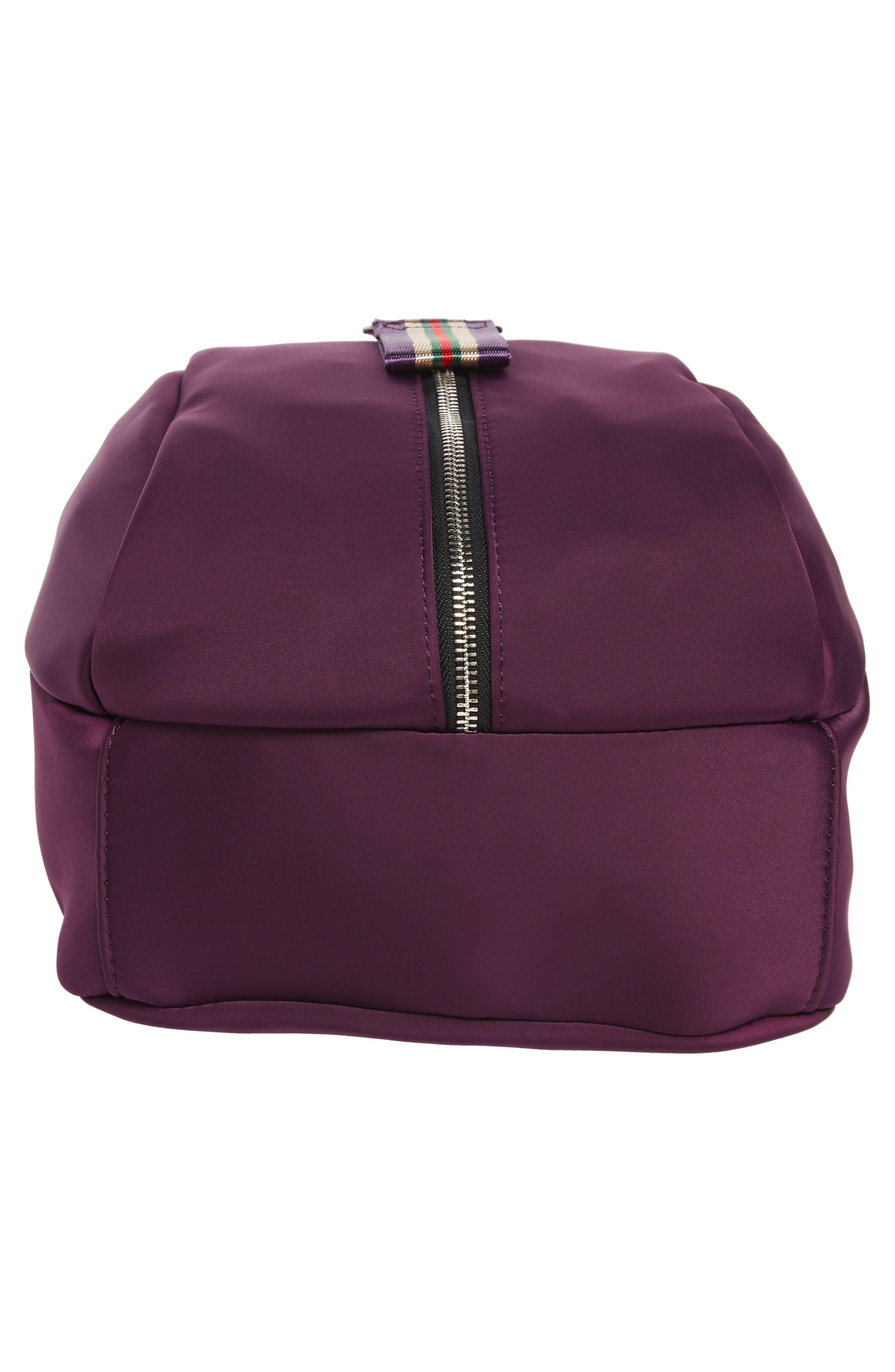 Satin Nylon & Webbing Convertible Backpack,                             Alternate thumbnail 5, color,                             PURPLE
