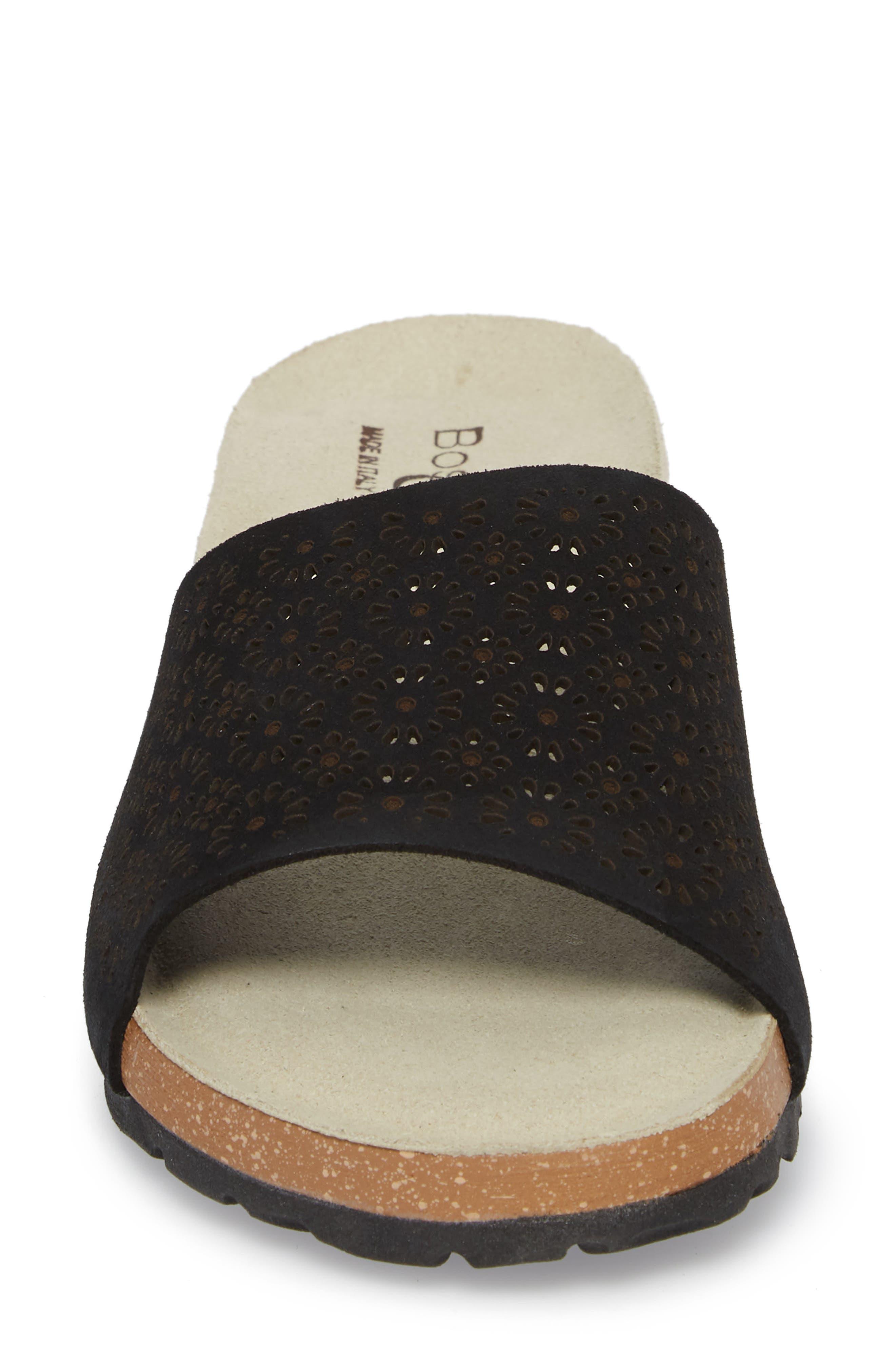 Loa Wedge Slide Sandal,                             Alternate thumbnail 4, color,                             BLACK SUEDE