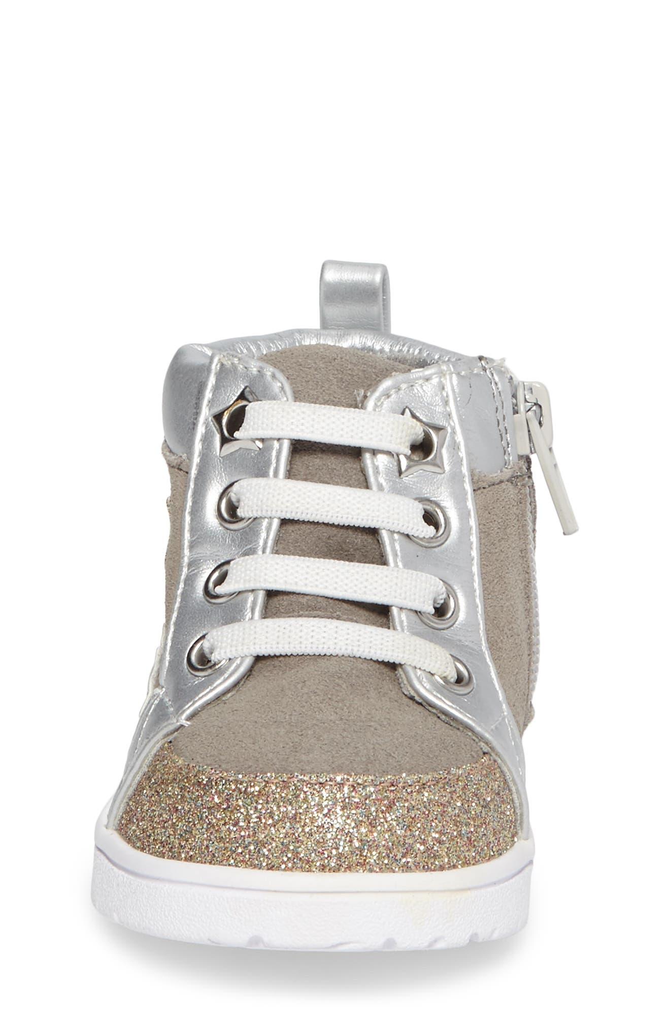 Diantha Star Appliqué High Top Sneaker,                             Alternate thumbnail 4, color,                             020