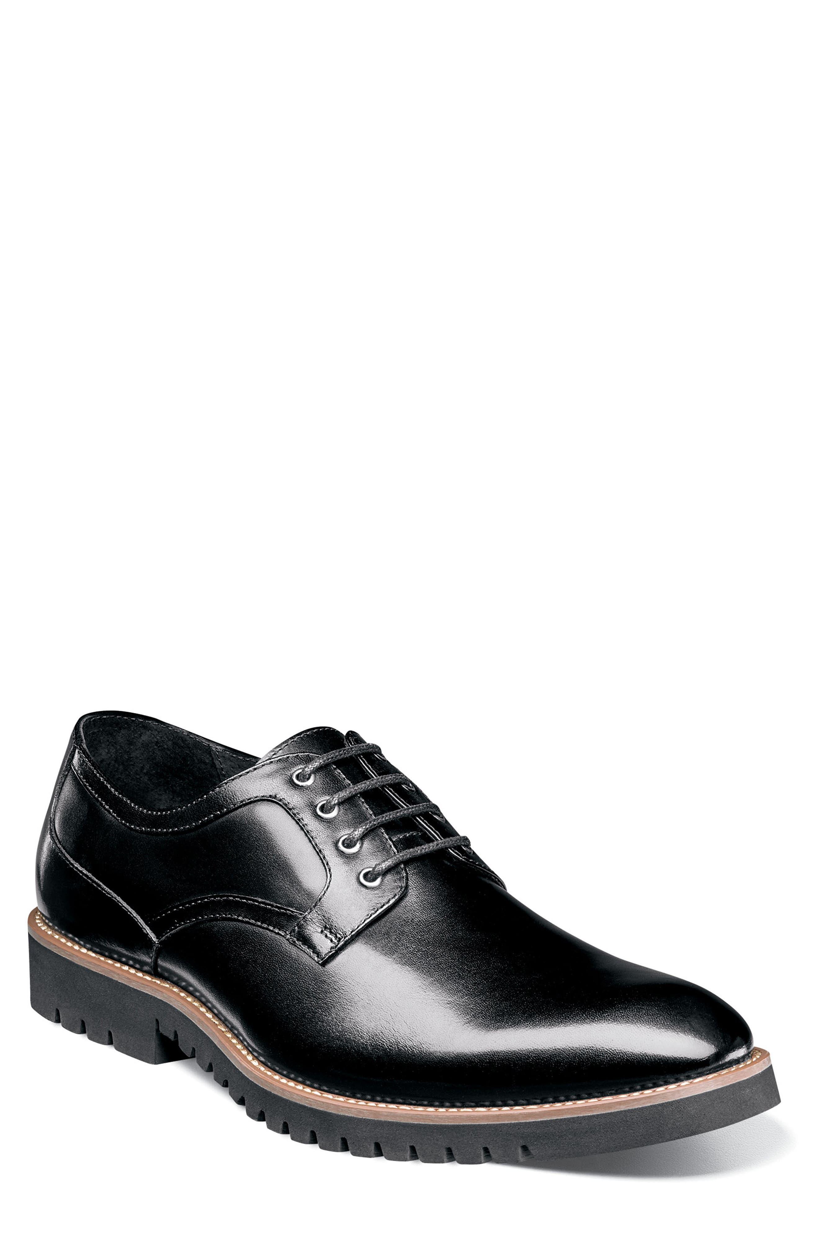 Barclay Plain Toe Derby,                             Main thumbnail 1, color,                             BLACK LEATHER