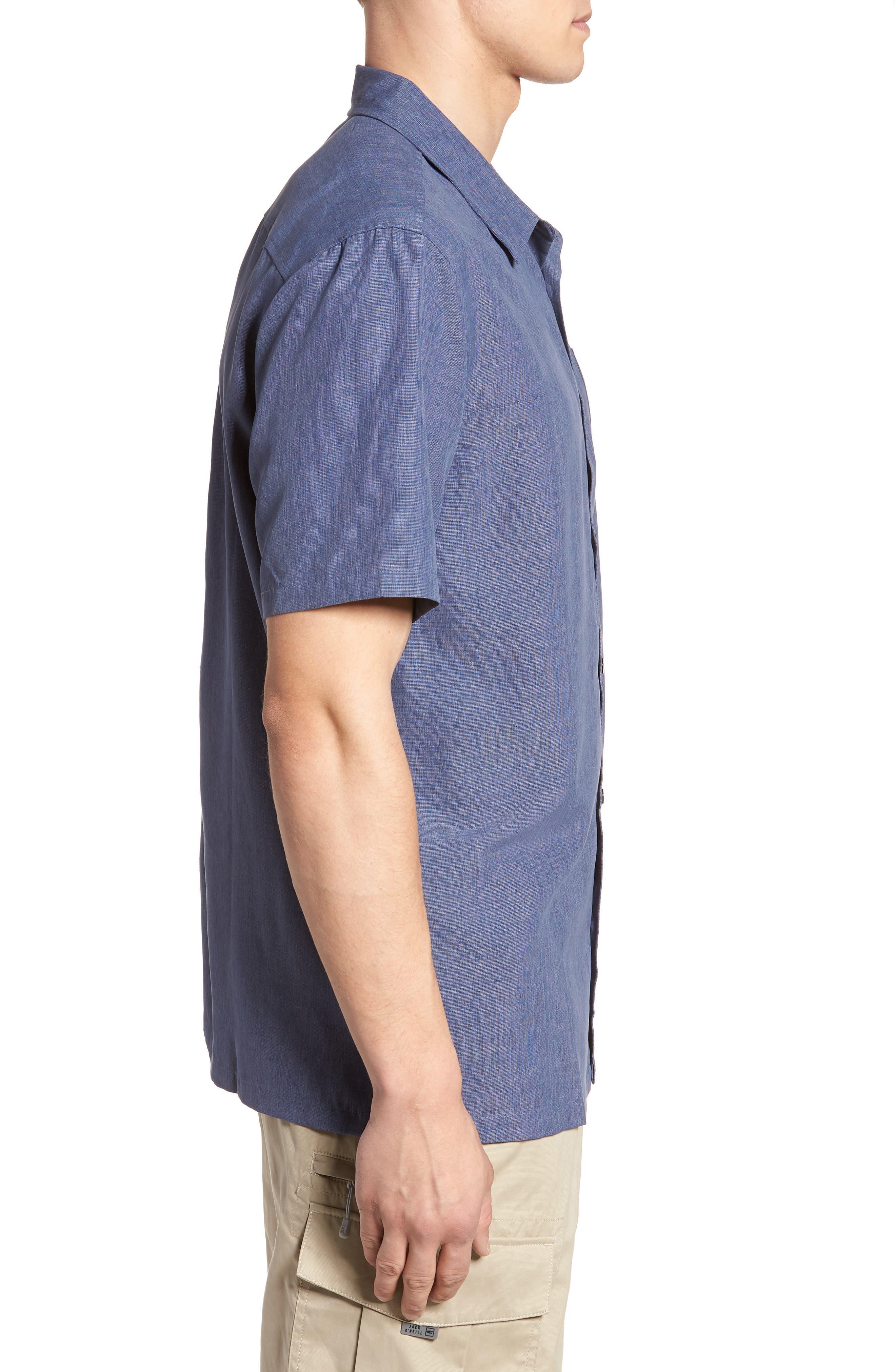 Liberty Regular Fit Short Sleeve Sport Shirt,                             Alternate thumbnail 3, color,                             NAVY