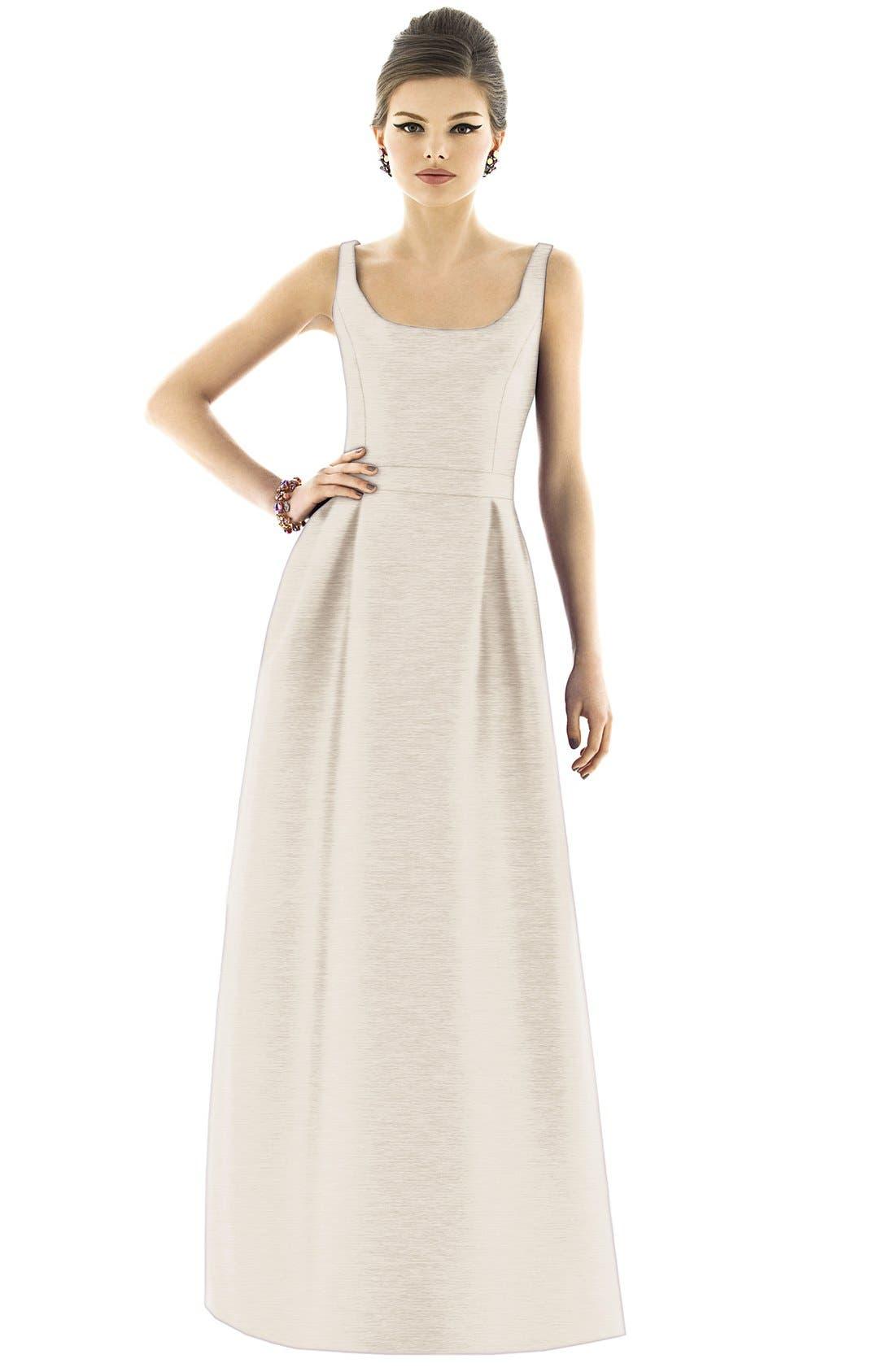 Scoop Neck Dupioni Full Length Dress,                             Alternate thumbnail 11, color,