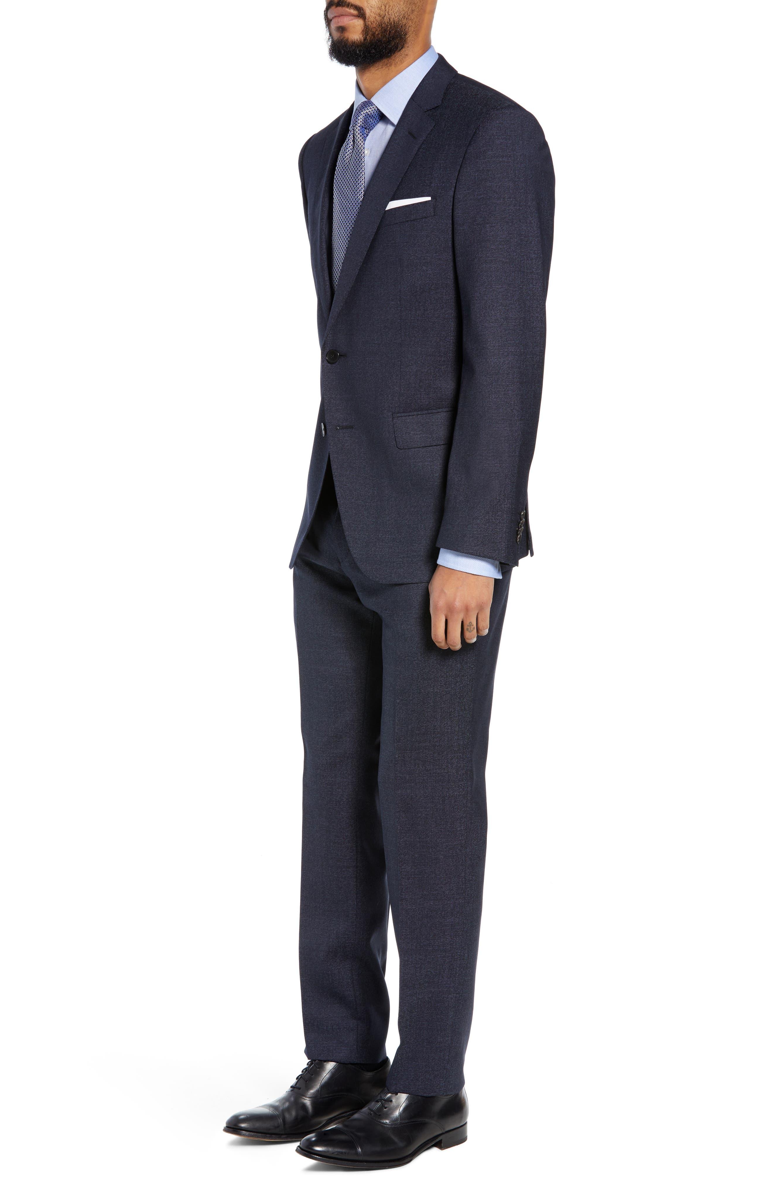 Huge/Genius Trim Fit Solid Wool Suit,                             Alternate thumbnail 3, color,                             OPEN BLUE