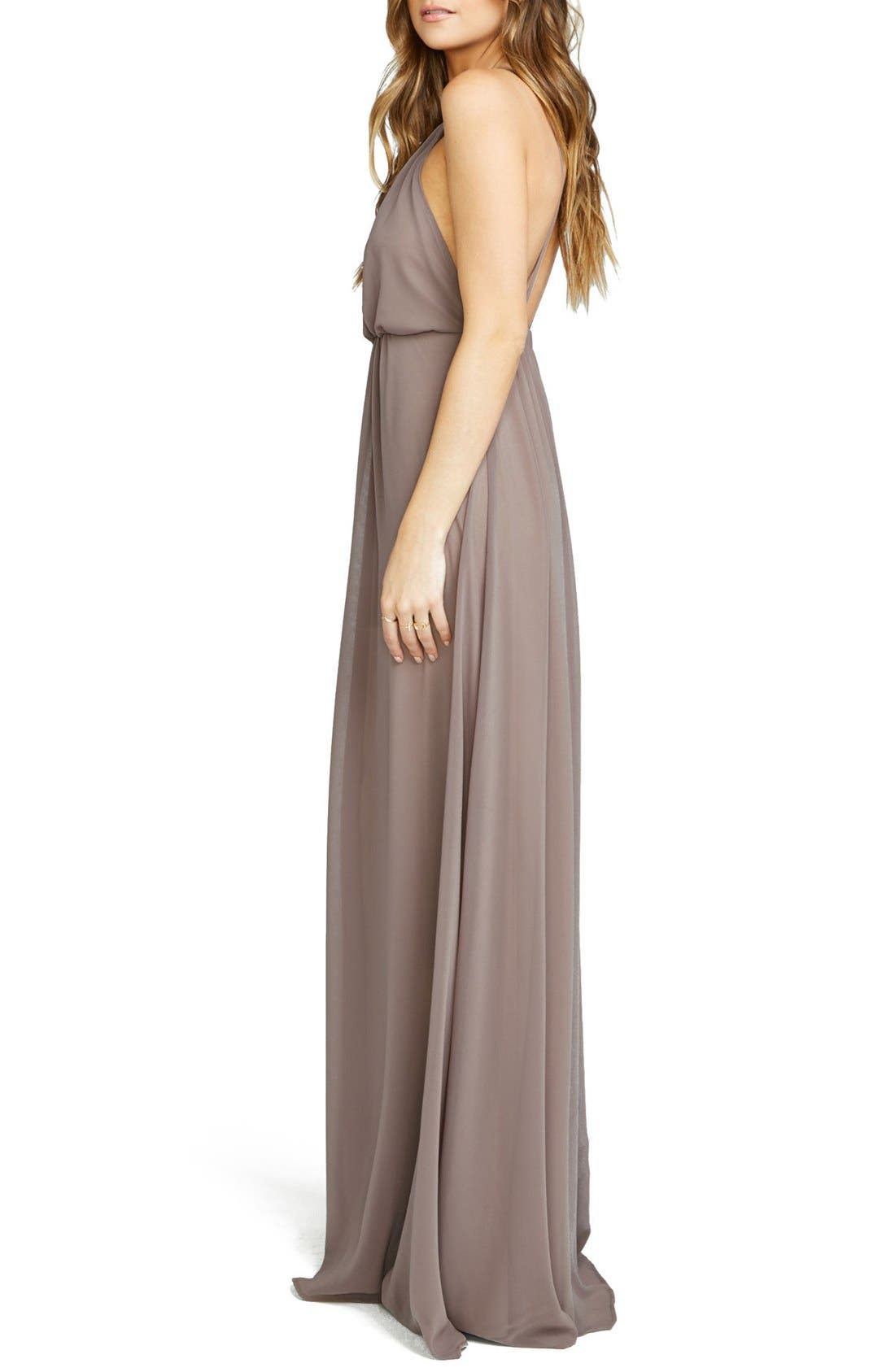 Amanda Open Back Blouson Gown,                             Alternate thumbnail 10, color,