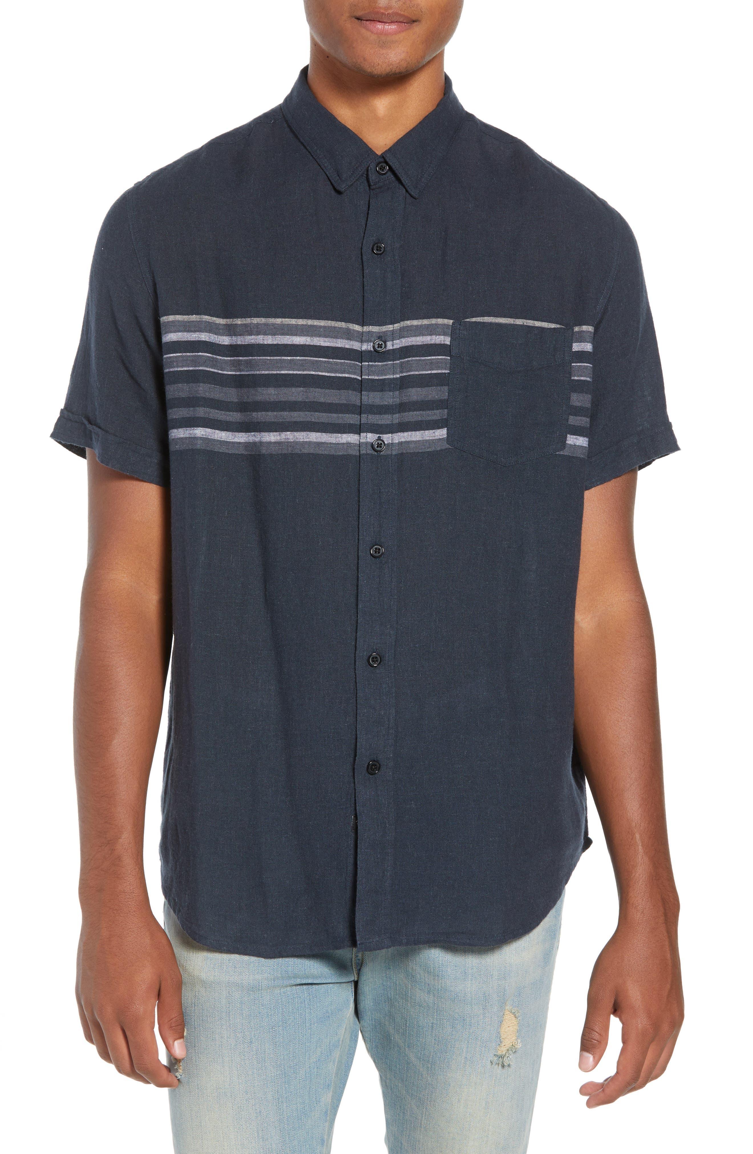 Carson Regular Fit Stripe Woven Shirt,                         Main,                         color, NAVY/WHITE/GREY STRIPE