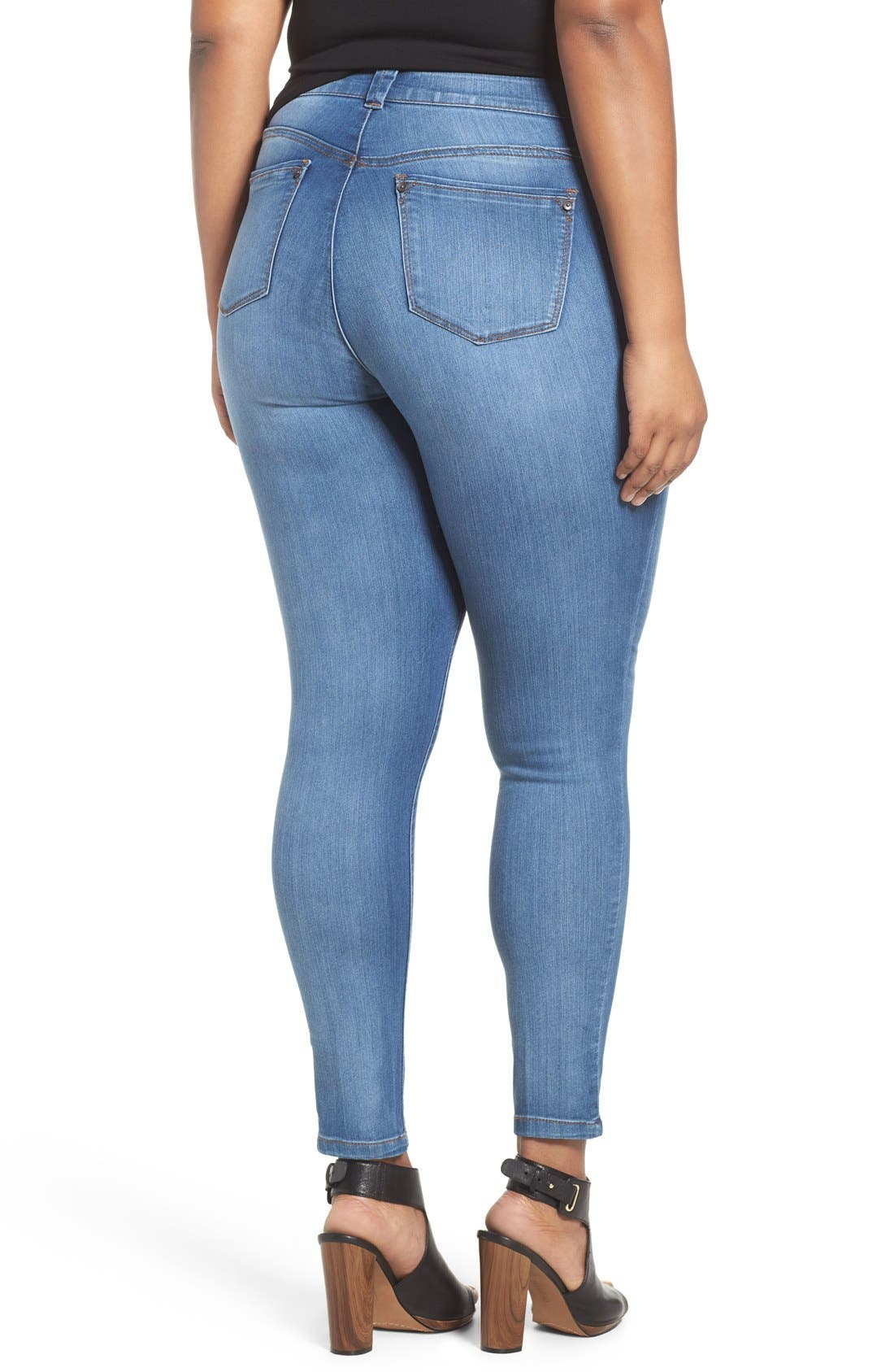 Ab-solution Stretch Skinny Jeans,                             Alternate thumbnail 3, color,                             BLUE