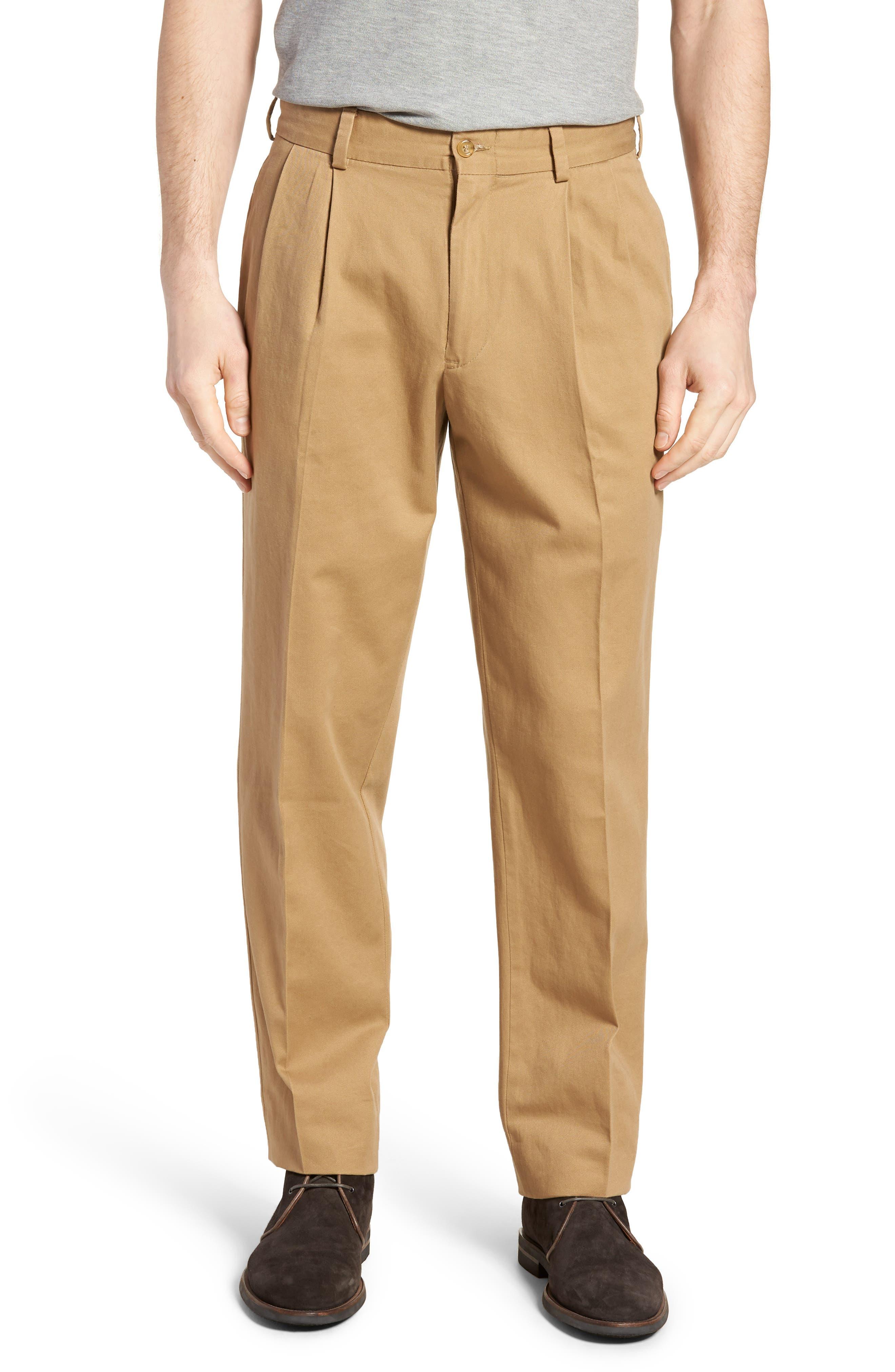 M2 Classic Fit Pleated Vintage Twill Pants,                         Main,                         color, BRITISH KHAKI