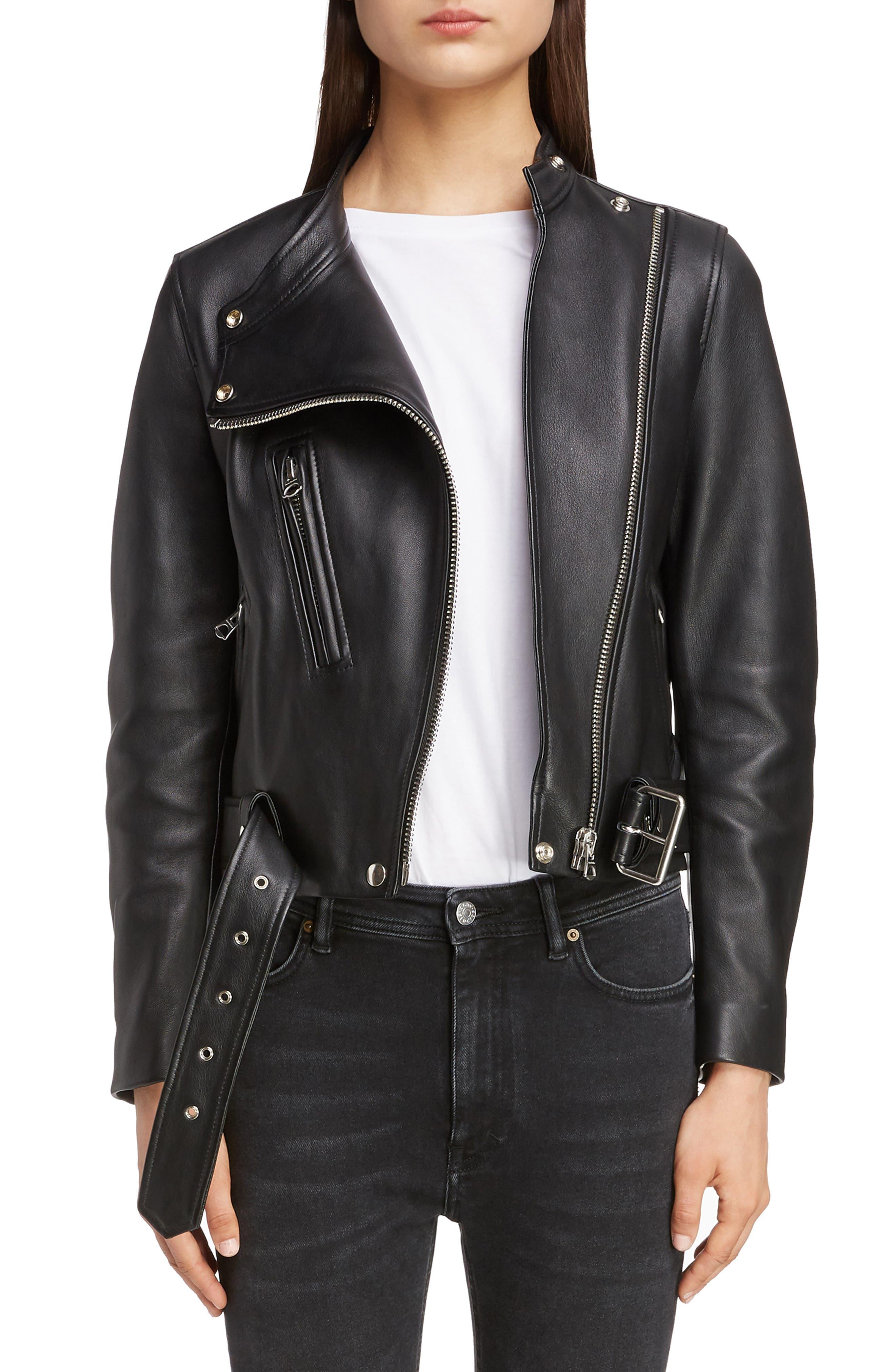 ACNE STUDIOS,                             Lewis Leather Moto Jacket,                             Main thumbnail 1, color,                             BLACK