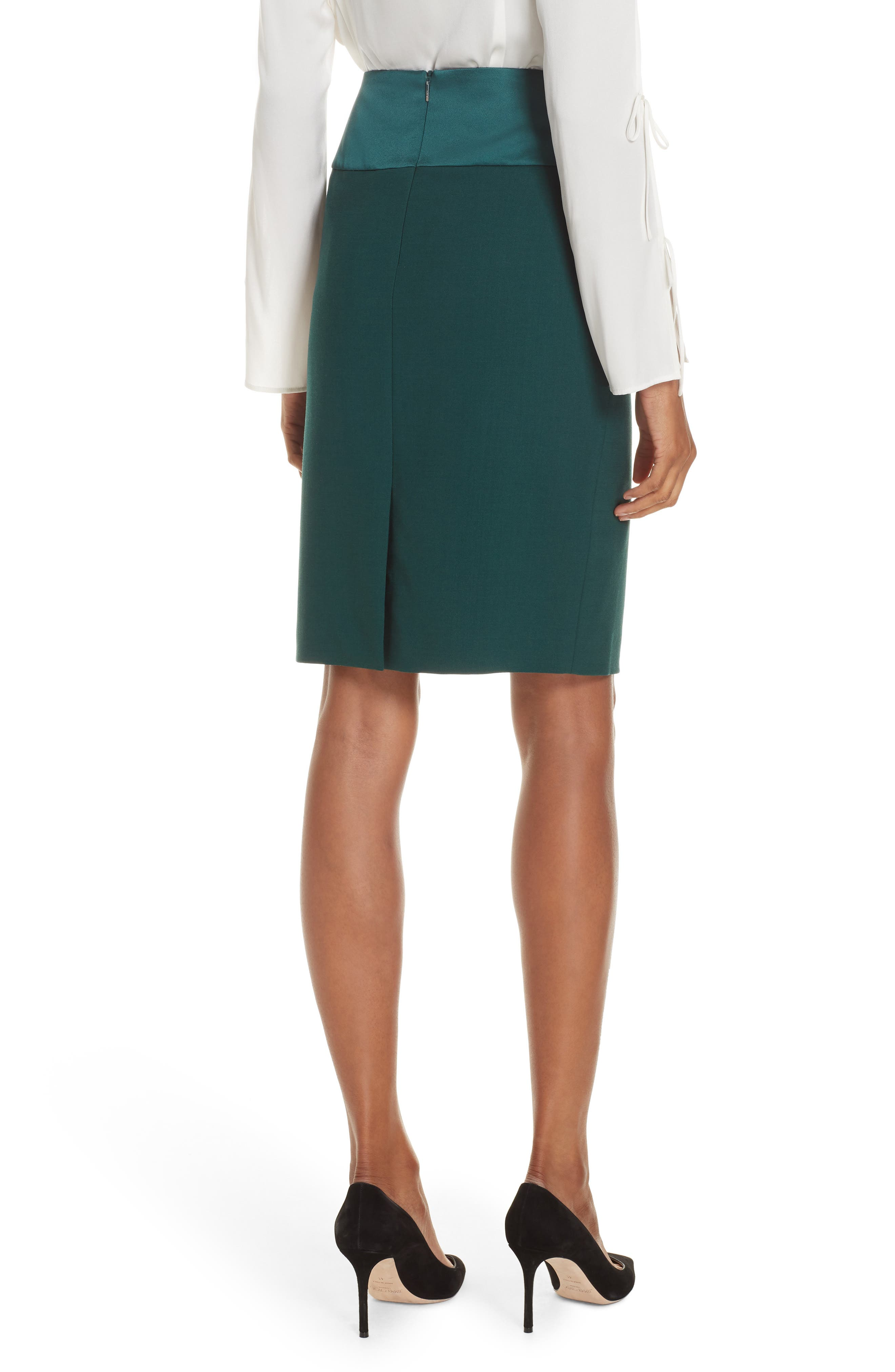 Vanufa Stretch Wool Suit Skirt,                             Alternate thumbnail 2, color,                             PINE GREEN