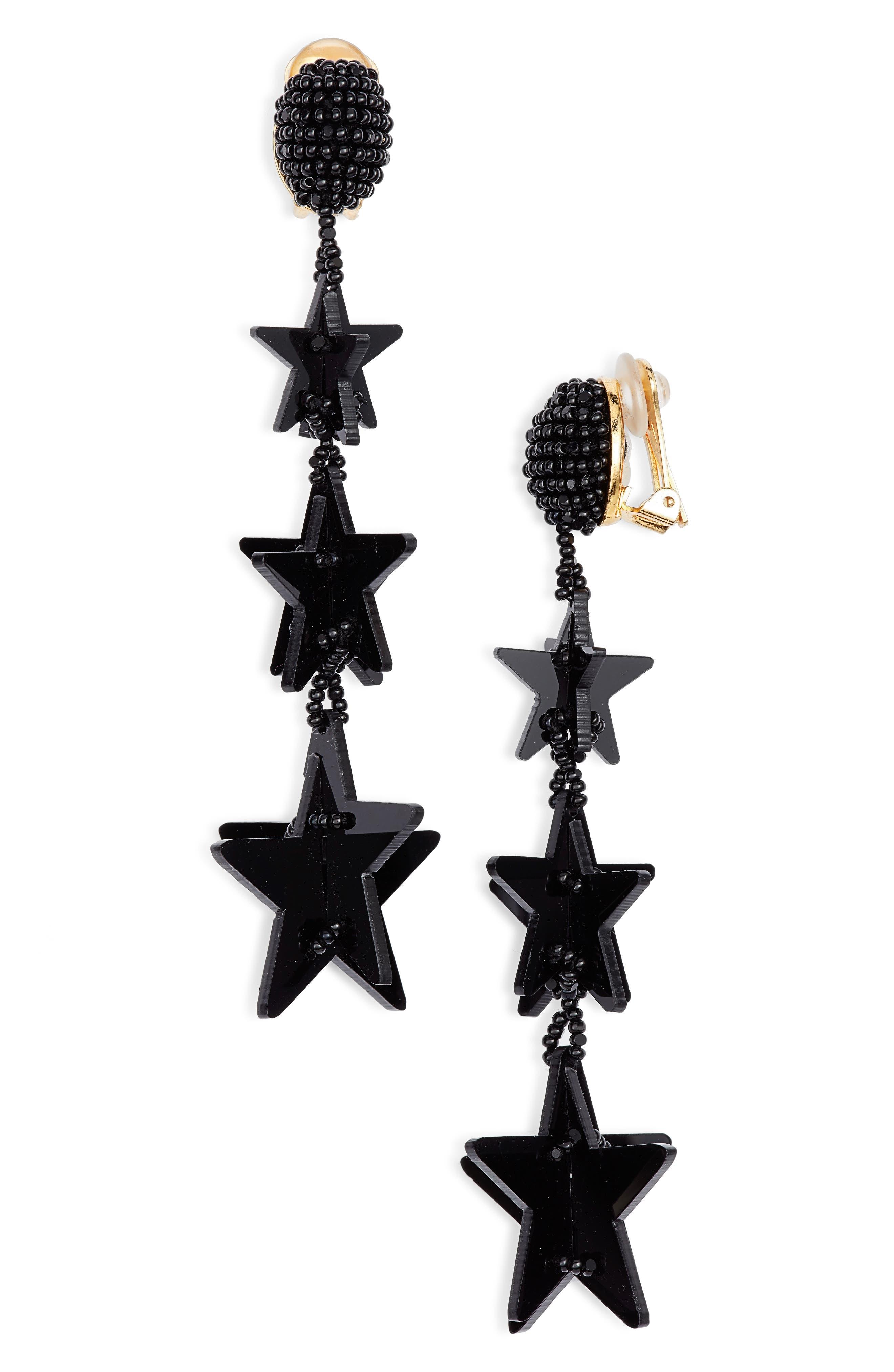 Falling Stars Drop Earrings,                         Main,                         color, BLACK