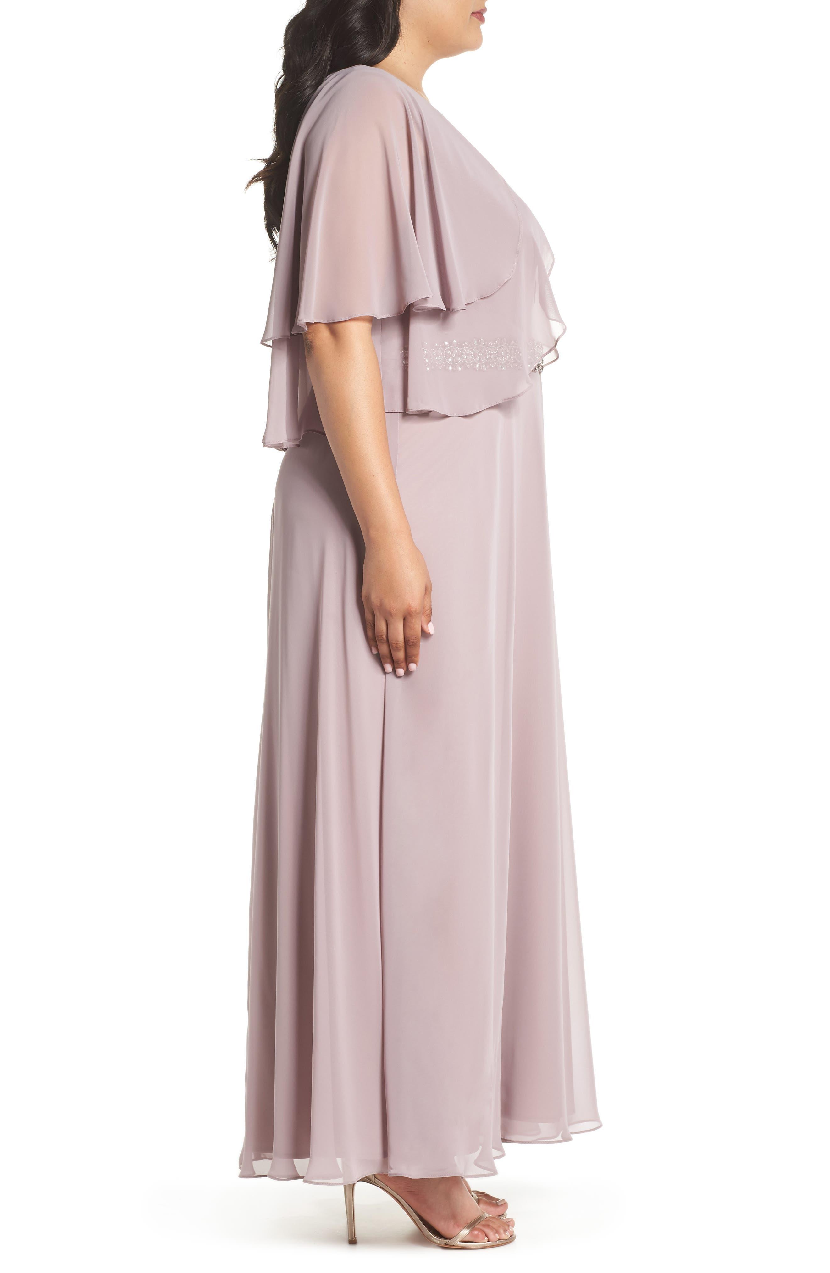 Embellished Waist Flutter Dress,                             Alternate thumbnail 3, color,                             680