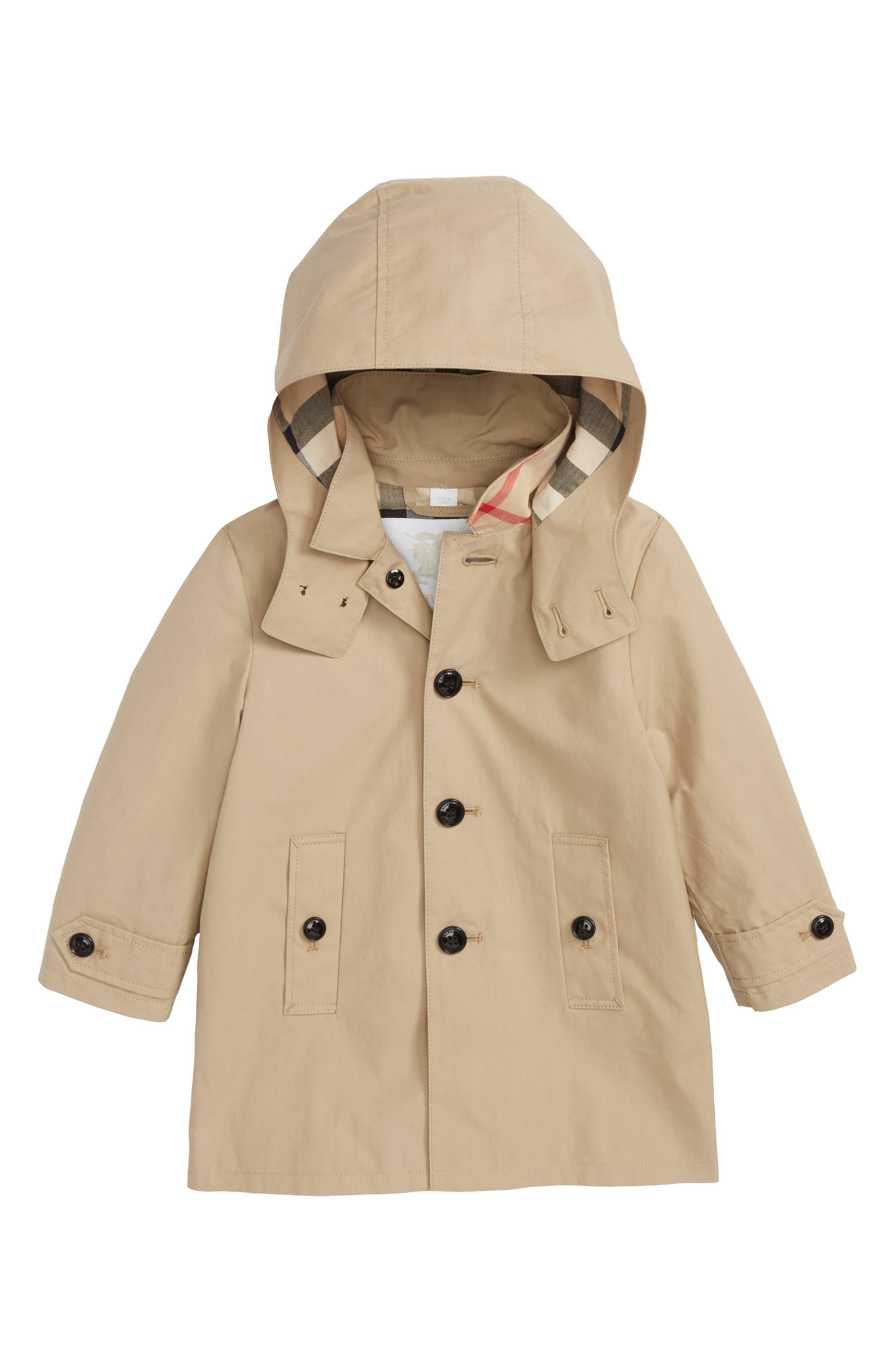 Mini Bradley Hooded Trench Coat,                             Main thumbnail 1, color,                             HONEY