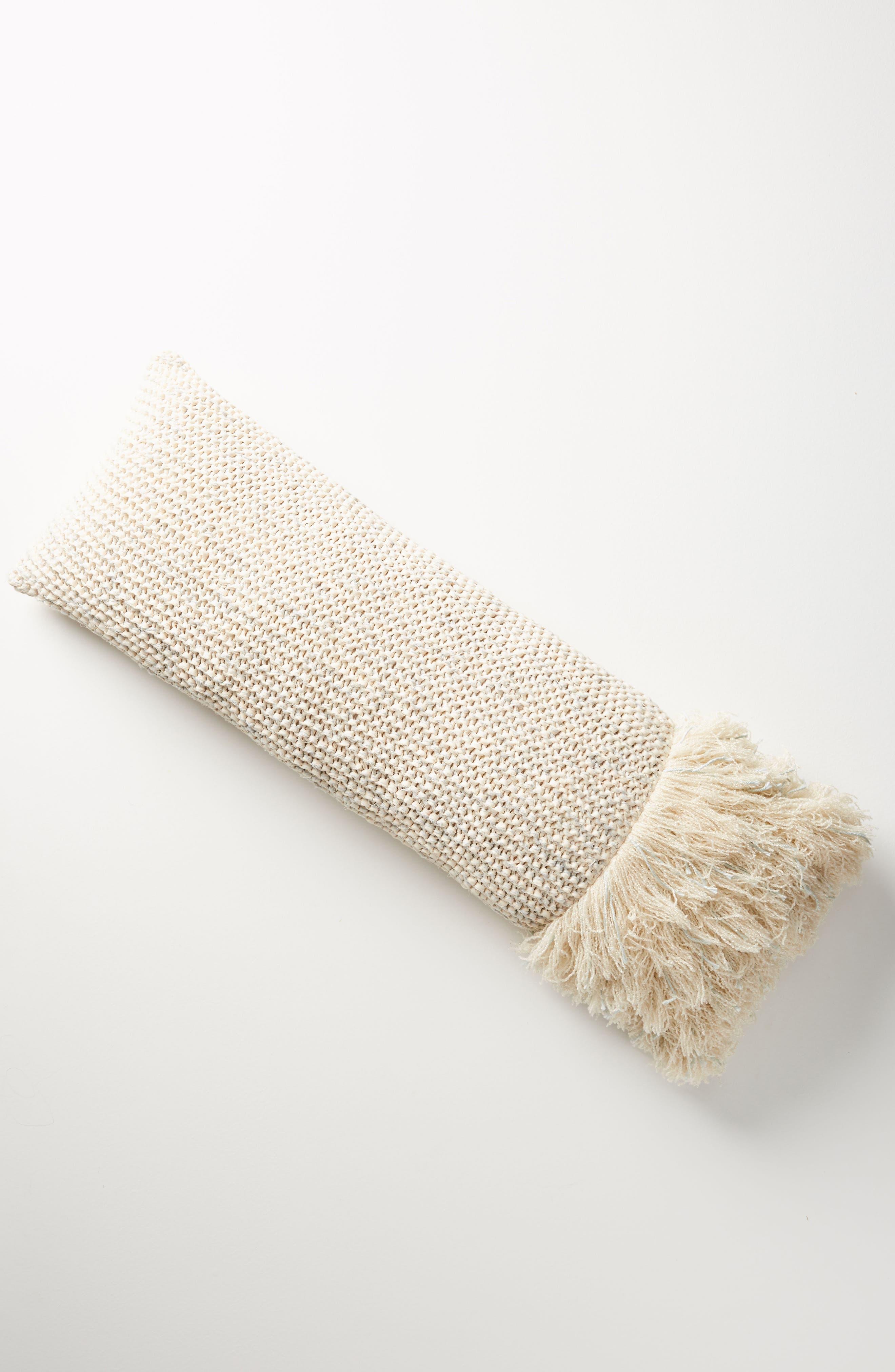 Fringed Waffleknit Pillow,                             Alternate thumbnail 3, color,                             422