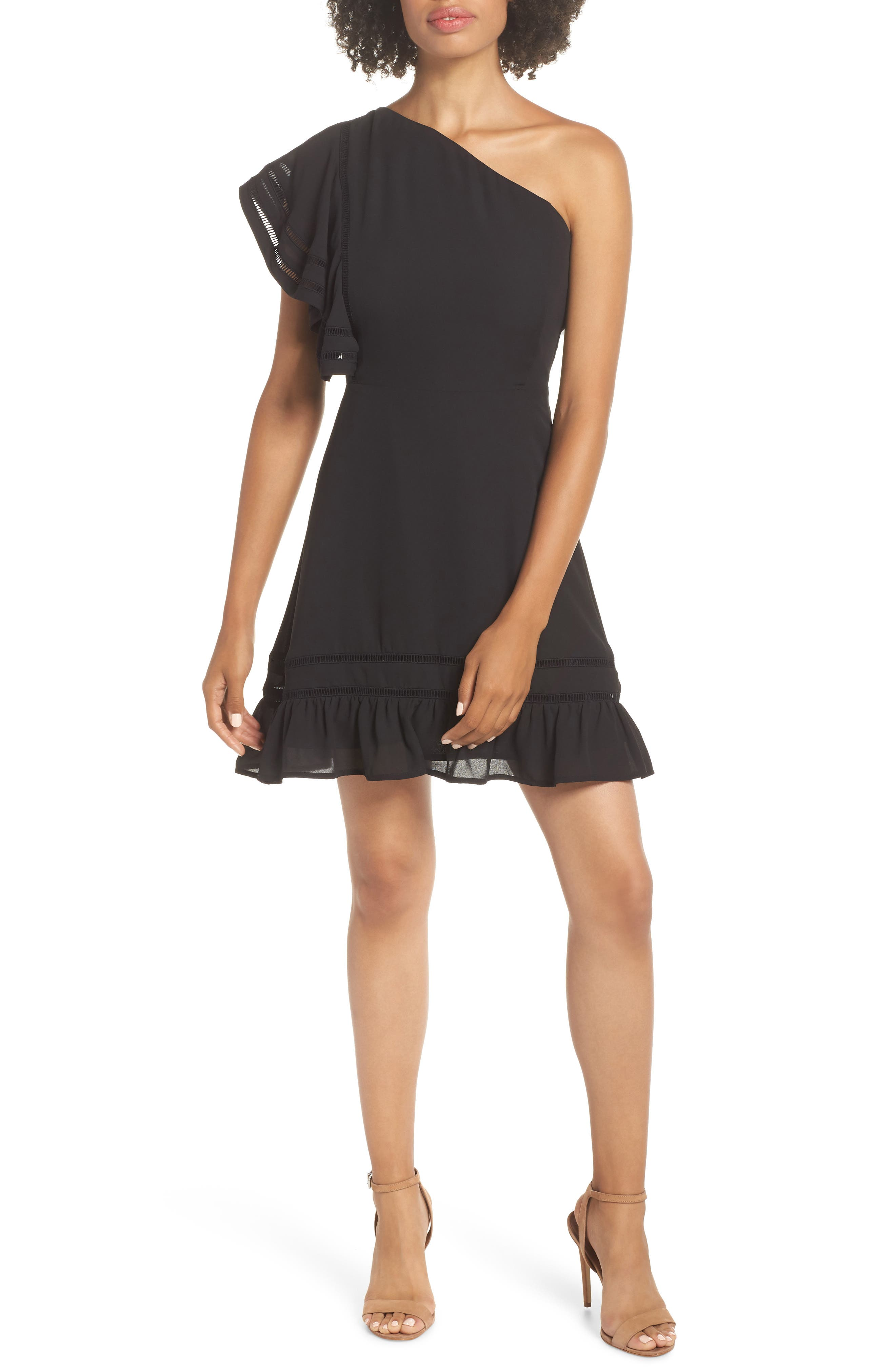 Bb Dakota Toast To Host One-Shoulder Minidress, Black