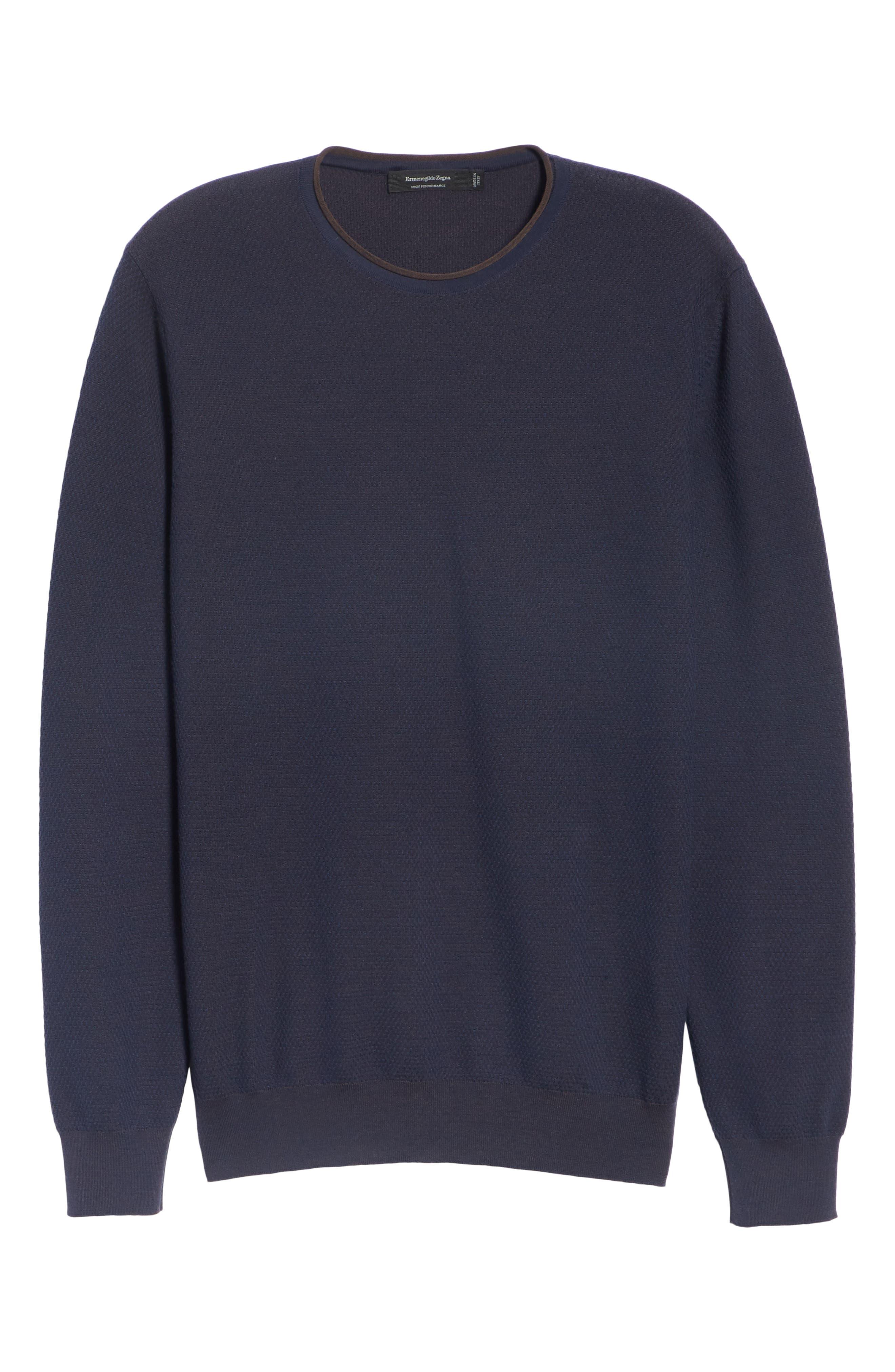 Crewneck Wool Sweater,                             Alternate thumbnail 6, color,                             NAVY