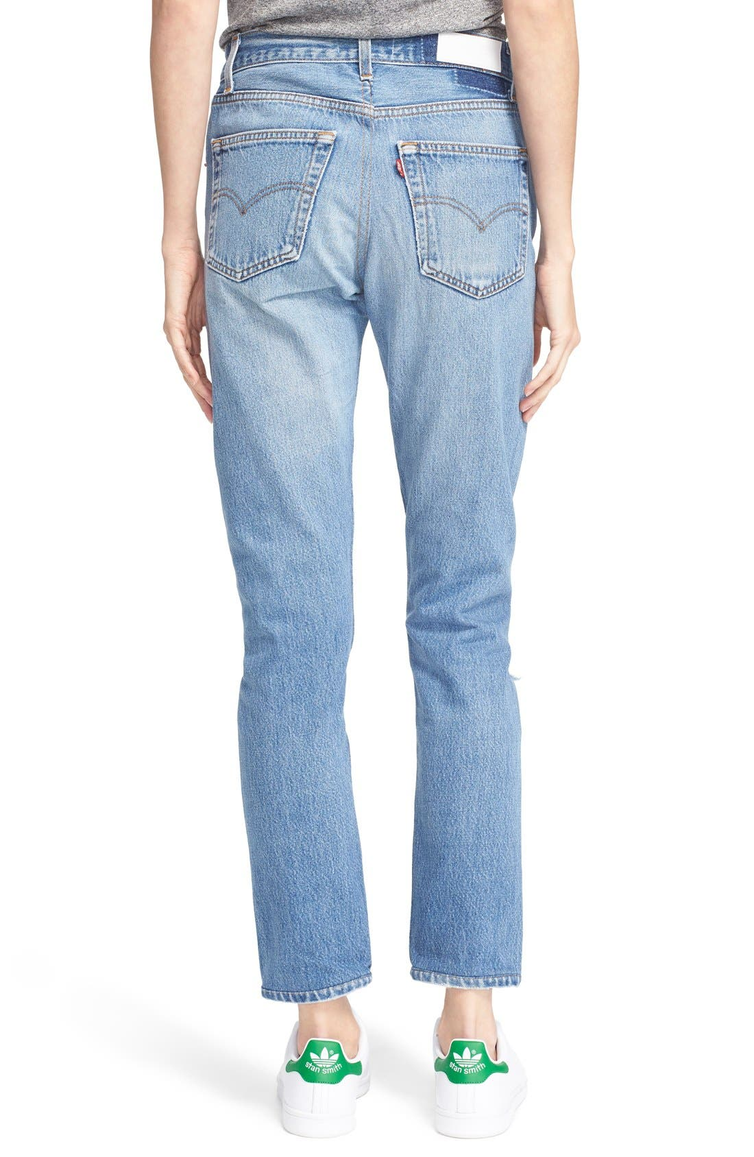 The High Waist Reconstructed Jeans,                             Alternate thumbnail 3, color,                             400