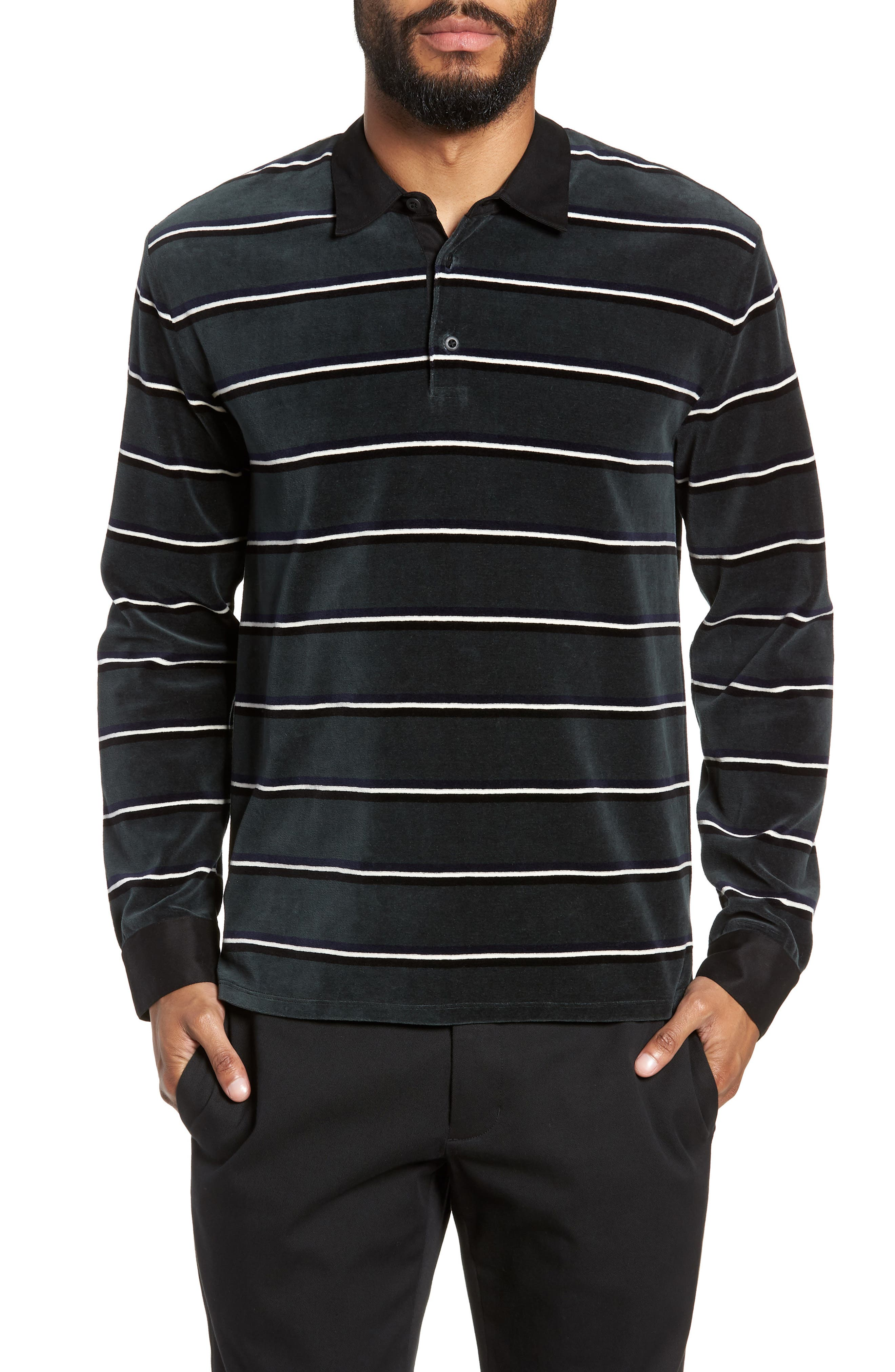 Rugby Stripe Long Sleeve Polo,                         Main,                         color, HUNTER GREEN