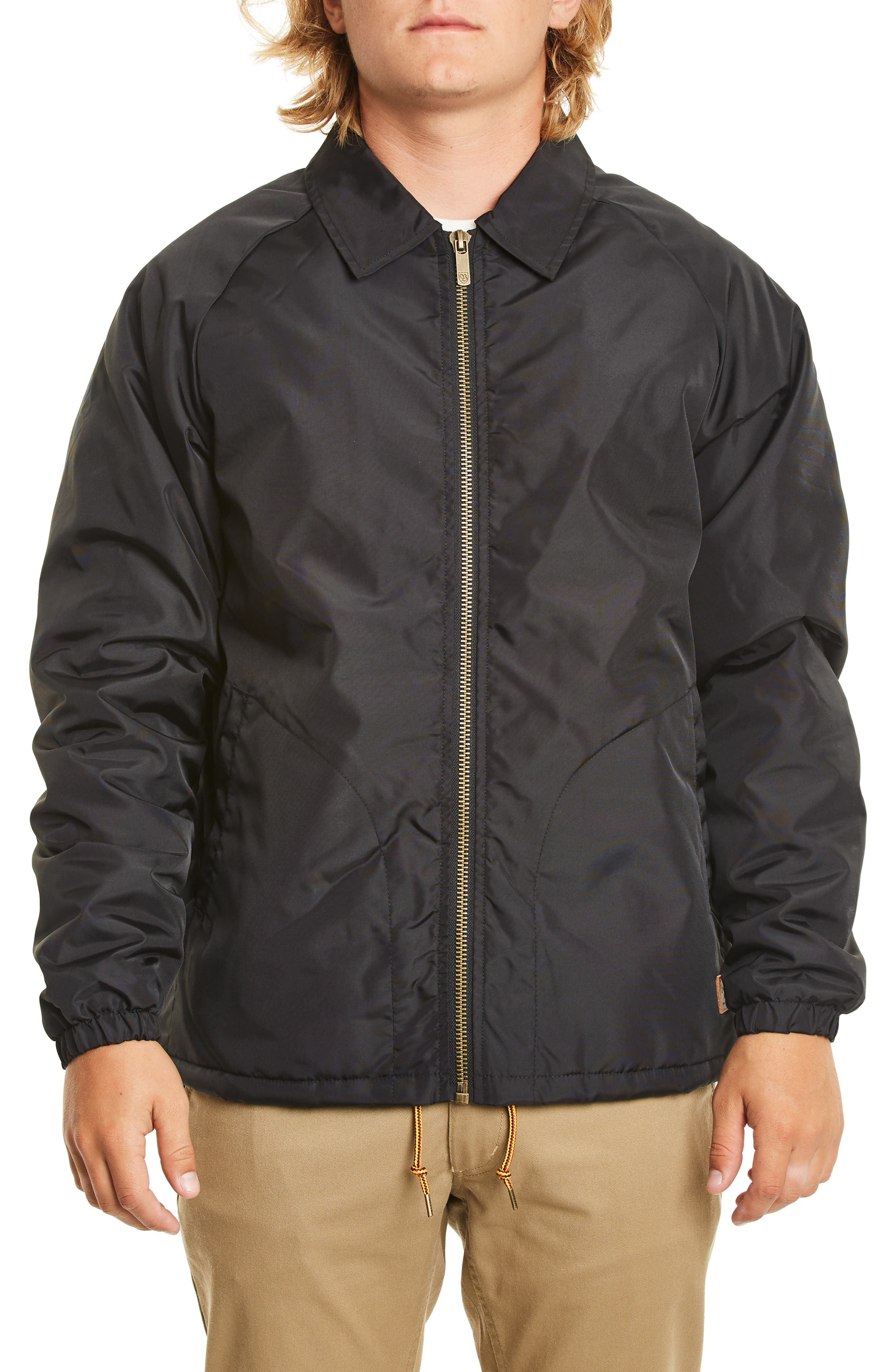 Claxton Water Repellent Jacket with Faux Shearling, Main, color, BLACK