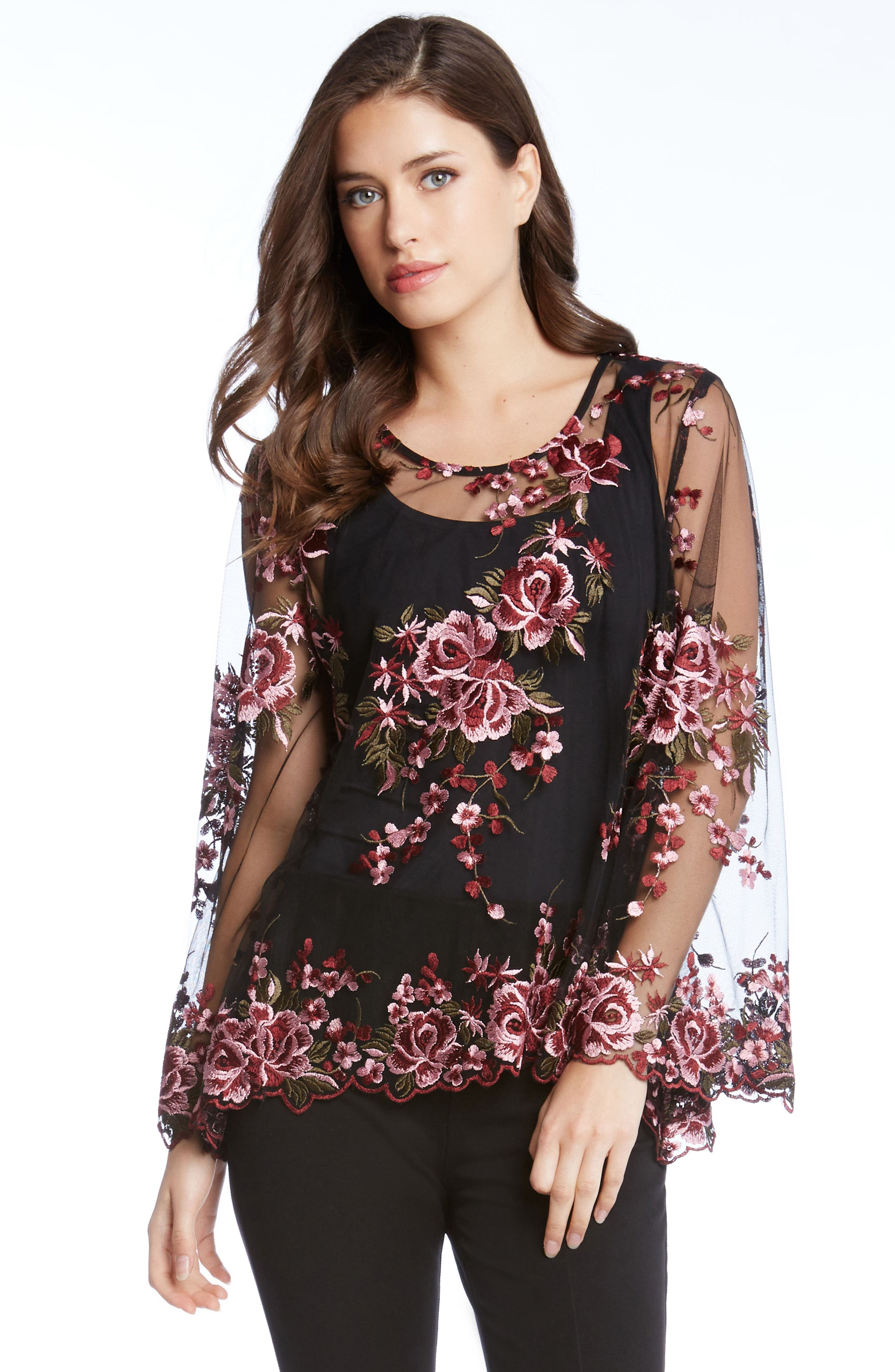 Embroidered Bell Sleeve Top,                             Alternate thumbnail 3, color,                             001