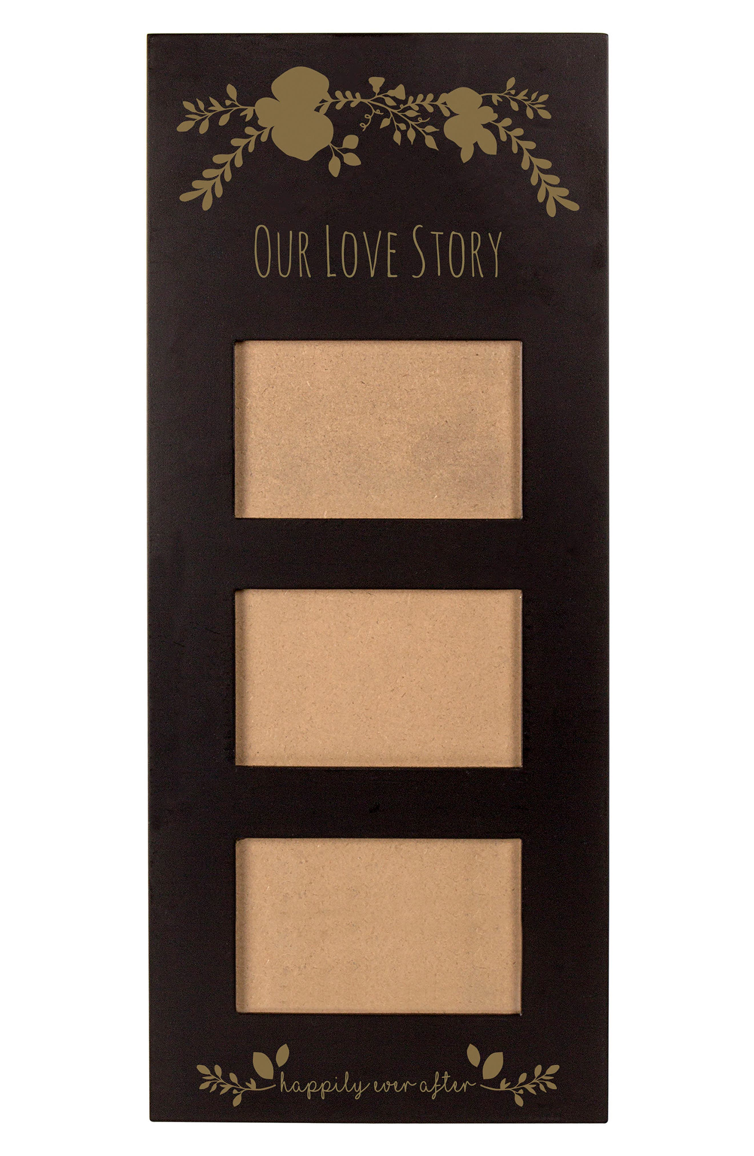 Gold Love Story 3-Window Picture Frame,                             Main thumbnail 1, color,                             001