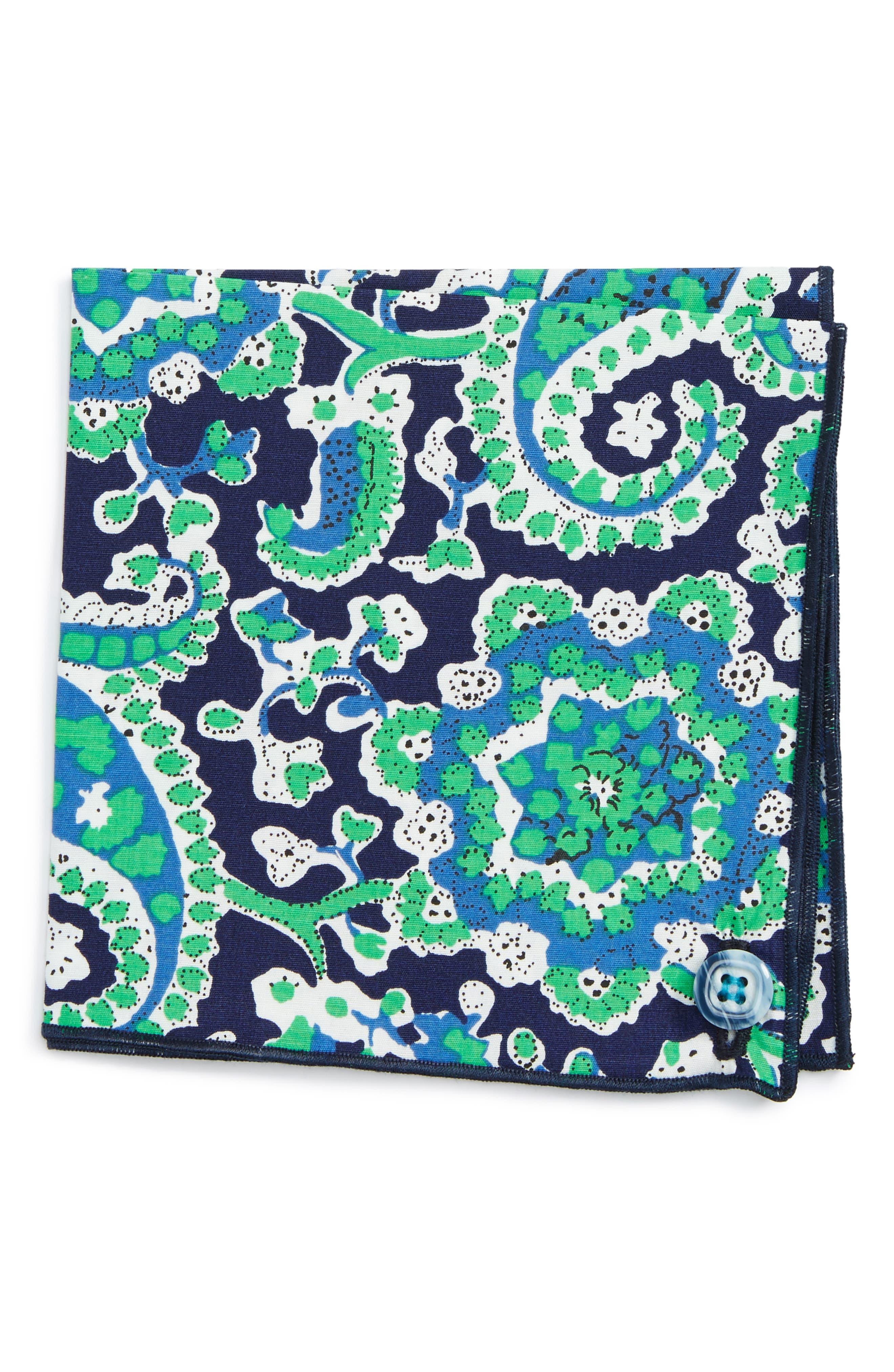 Green Plant Cotton Pocket Square,                             Main thumbnail 1, color,