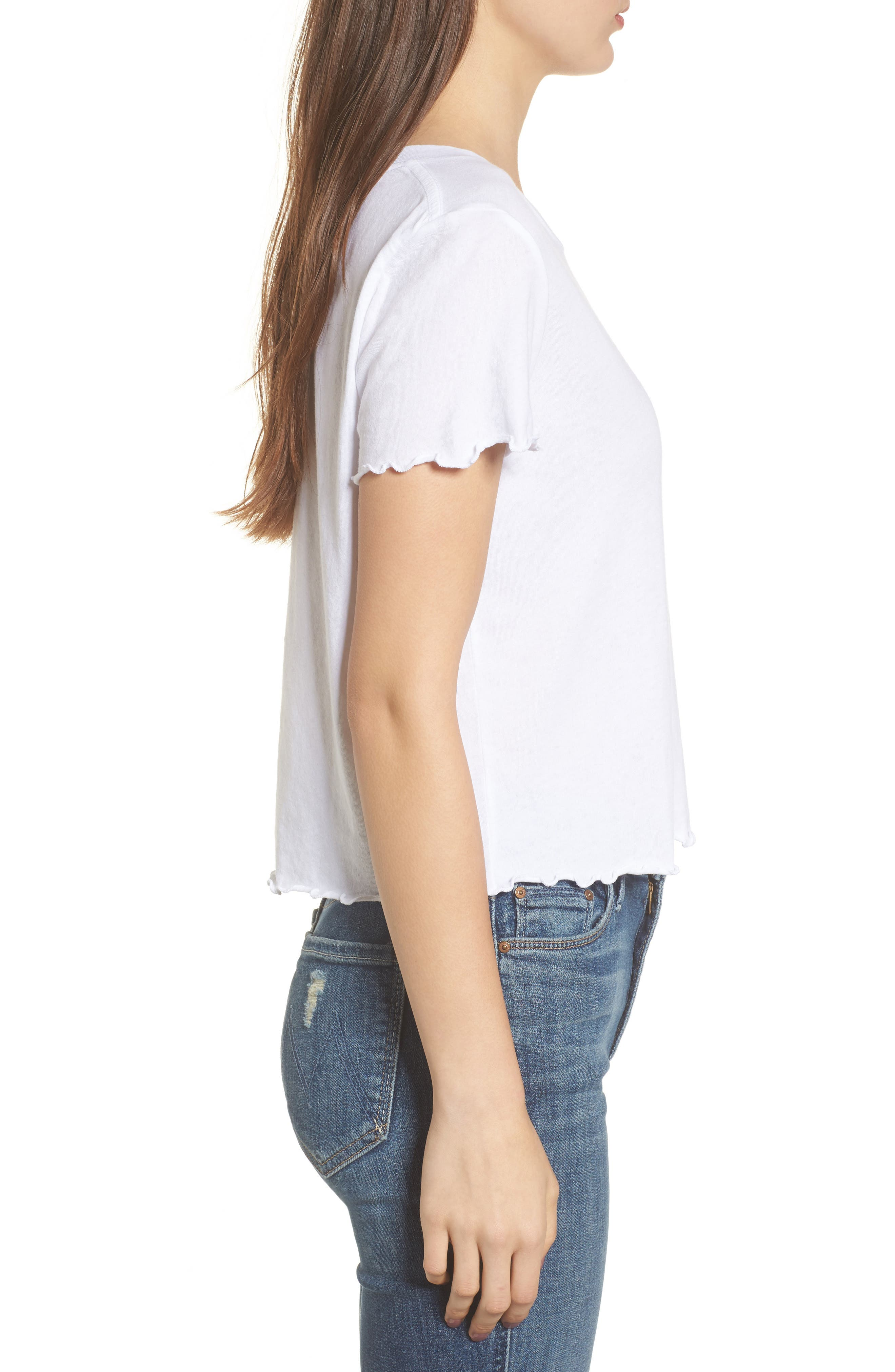 Rise & Shine Frilled Tee,                             Alternate thumbnail 3, color,                             100