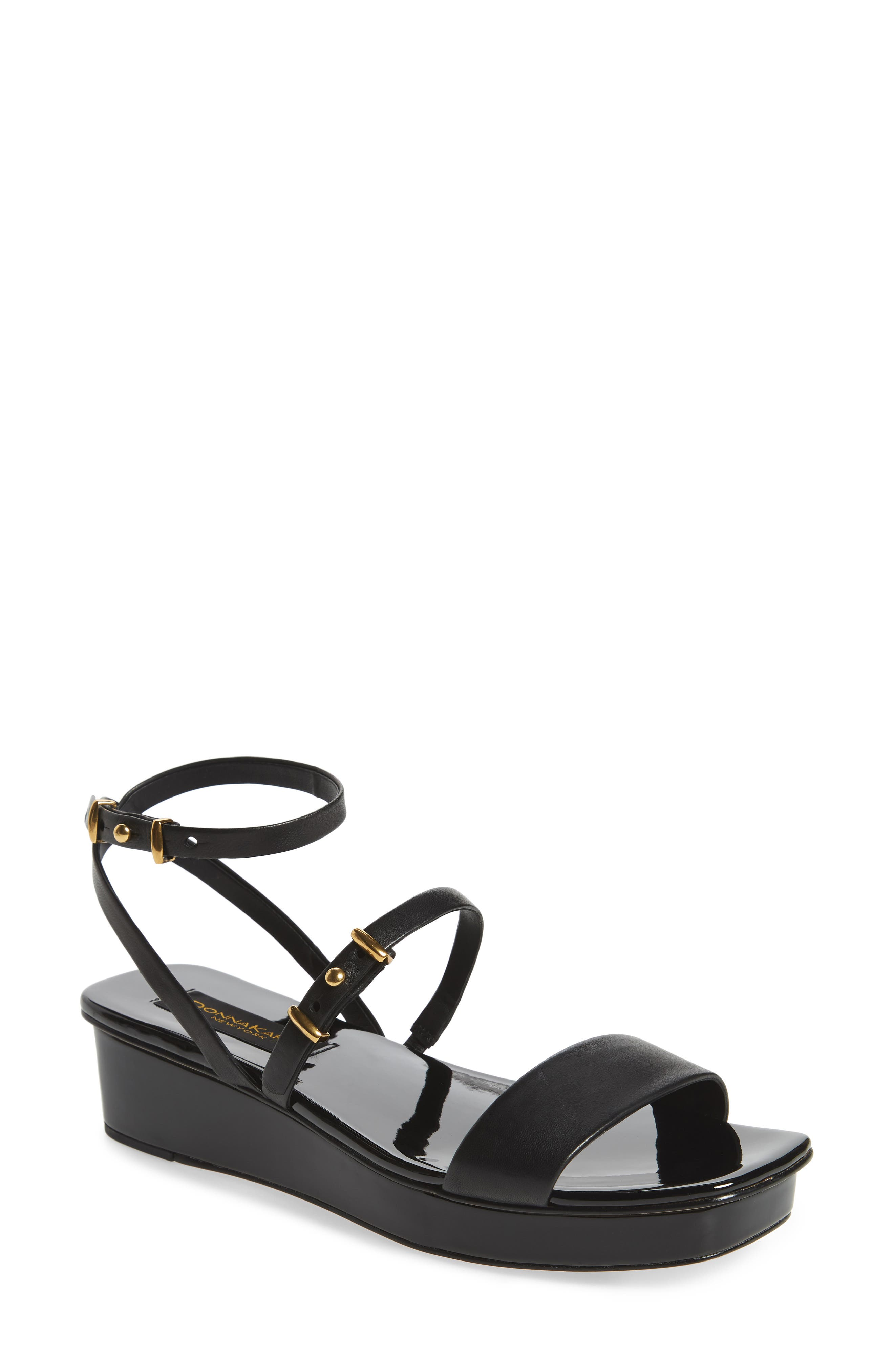 Ankle Strap Wedge Sandal,                             Main thumbnail 1, color,                             001