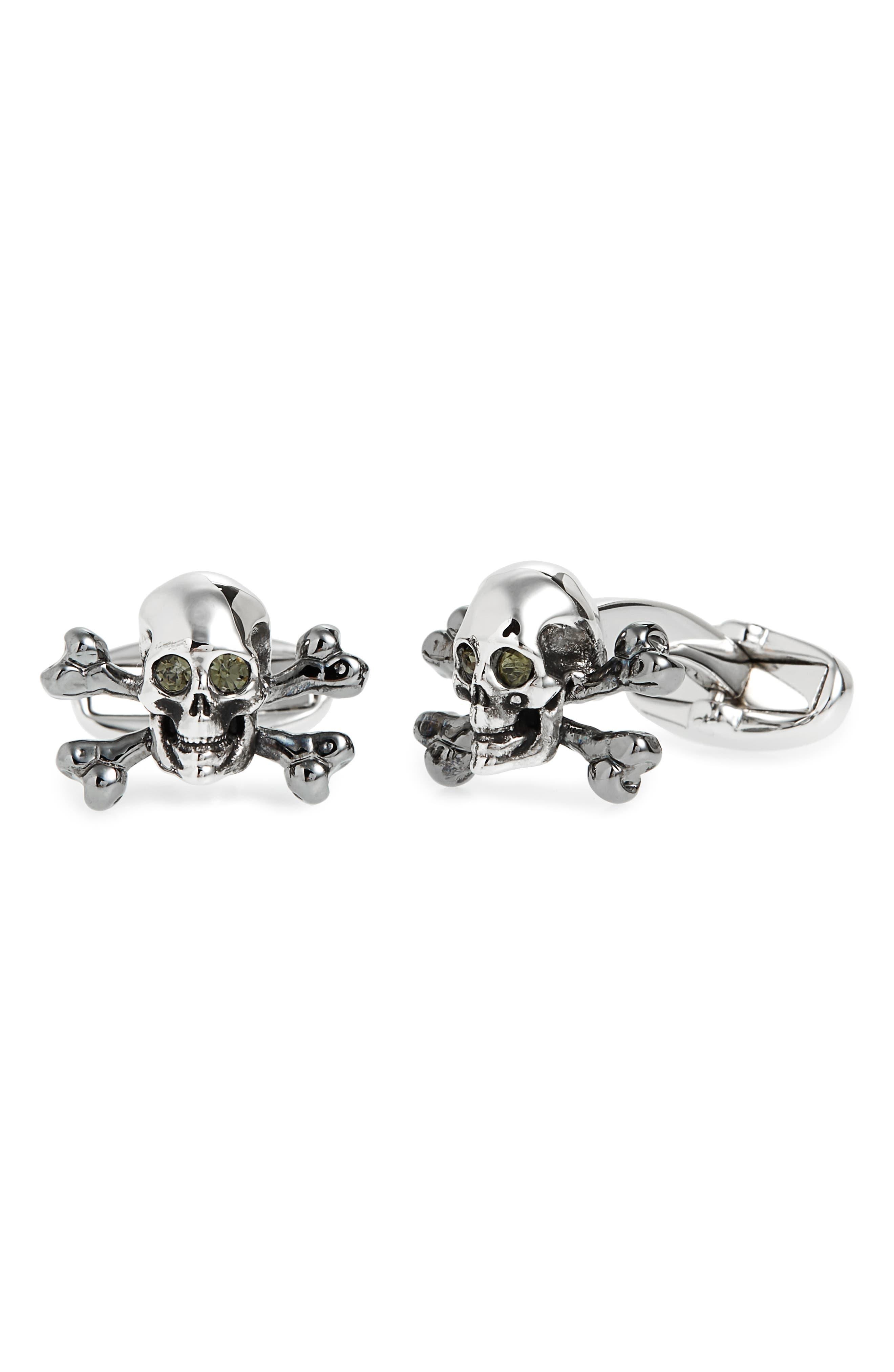 Skull & Crossbones Cuff Links,                             Main thumbnail 1, color,                             003