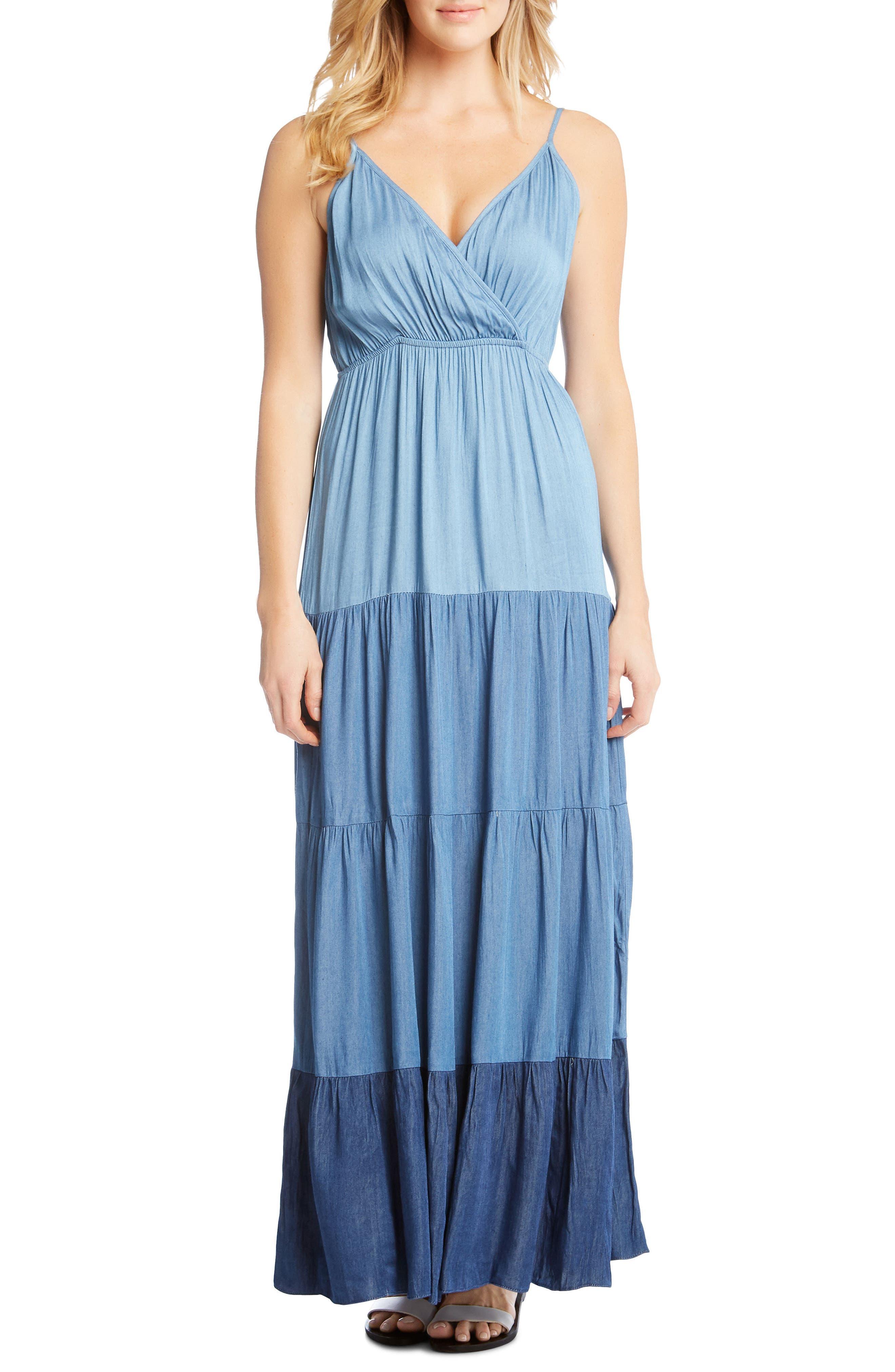 Tiered Chambray Maxi Dress,                             Main thumbnail 1, color,                             488