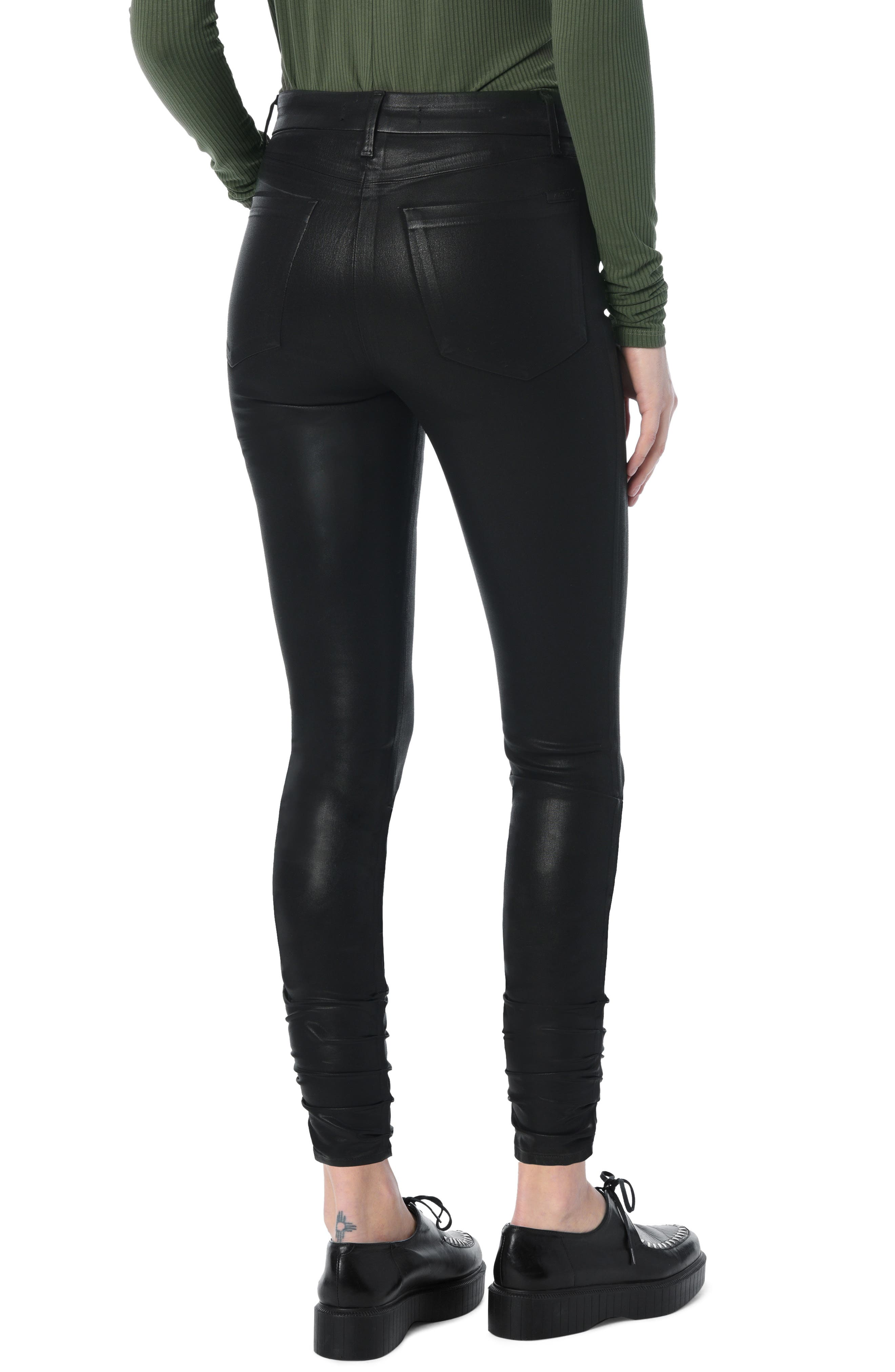 Charlie Coated Stacked Hem Ankle Skinny Jeans,                             Alternate thumbnail 2, color,                             BLACK