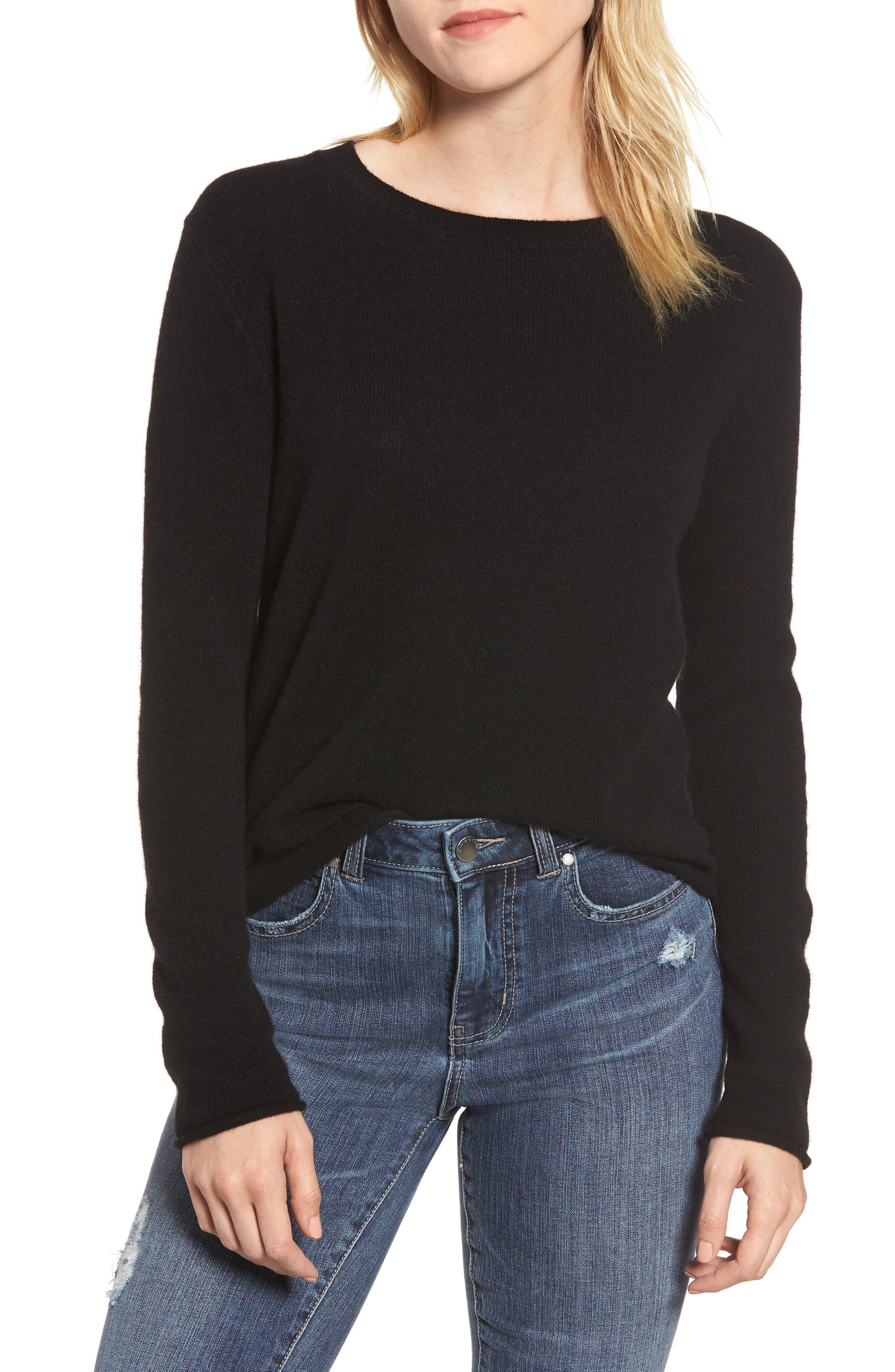 Cashmere Slim Pullover,                             Main thumbnail 1, color,                             BLACK