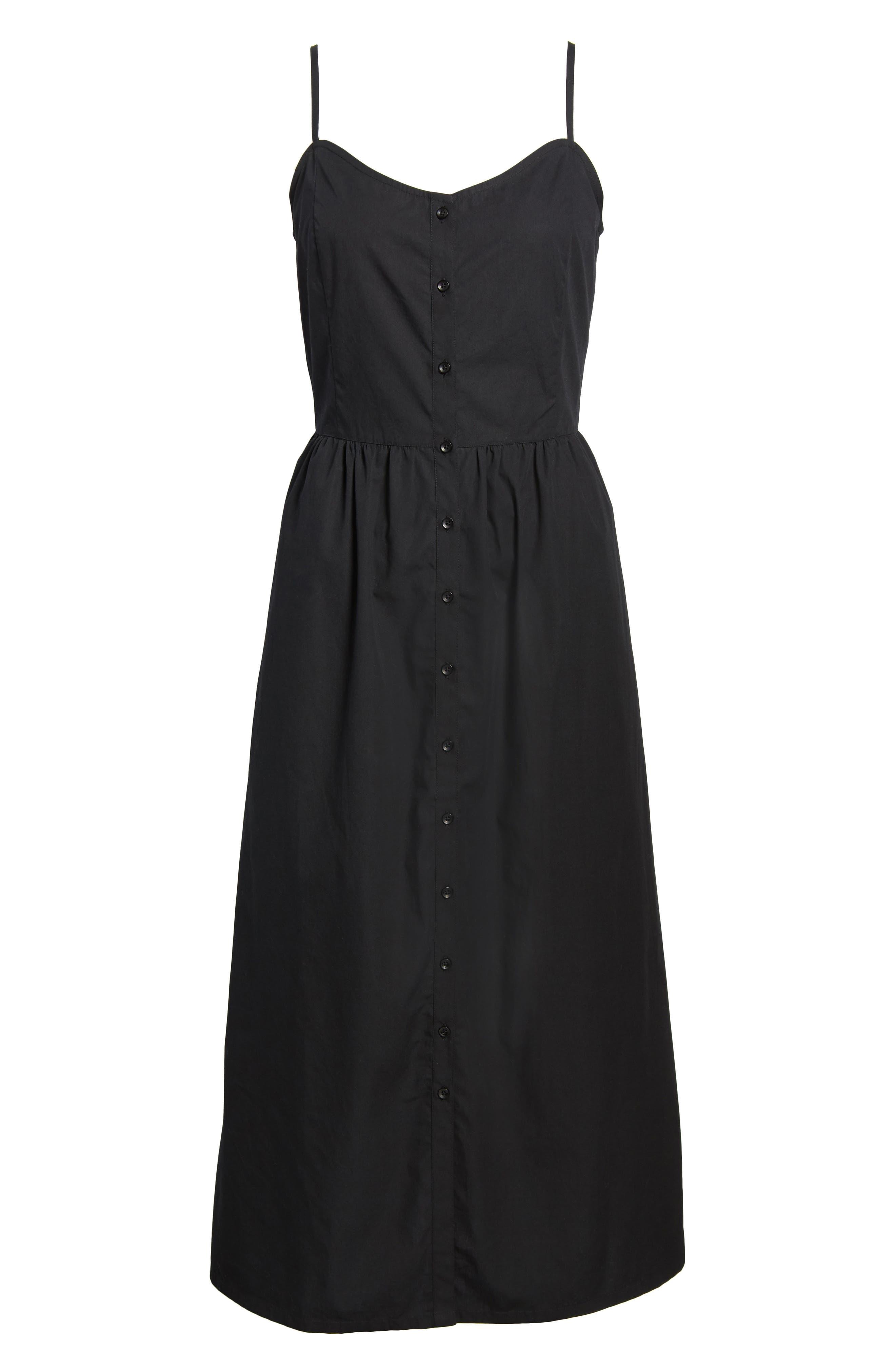Button Front Midi Dress,                             Alternate thumbnail 6, color,                             001